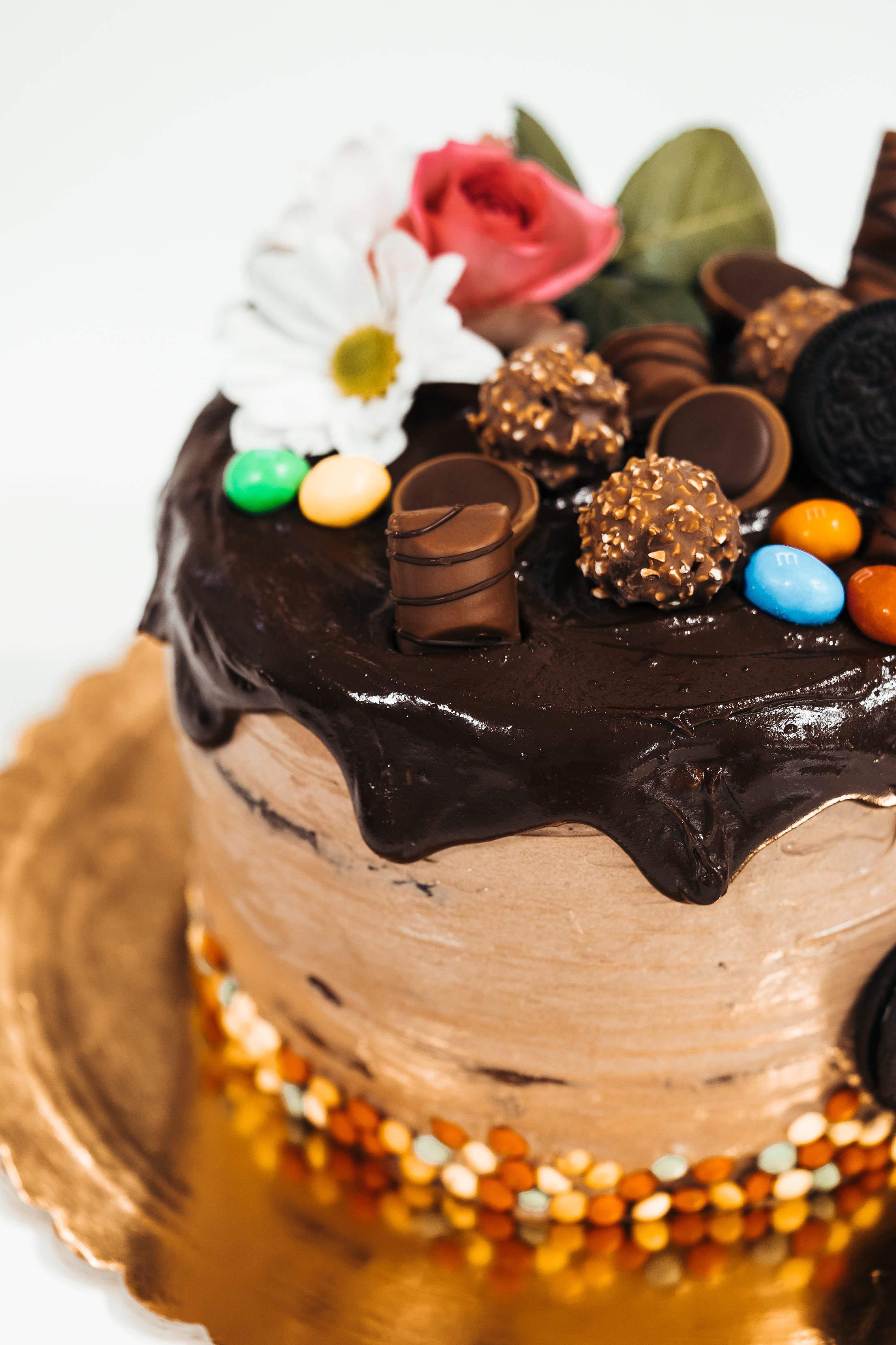 Naked Chocolate Cake with Chocolate Decorations Free Stock Photo