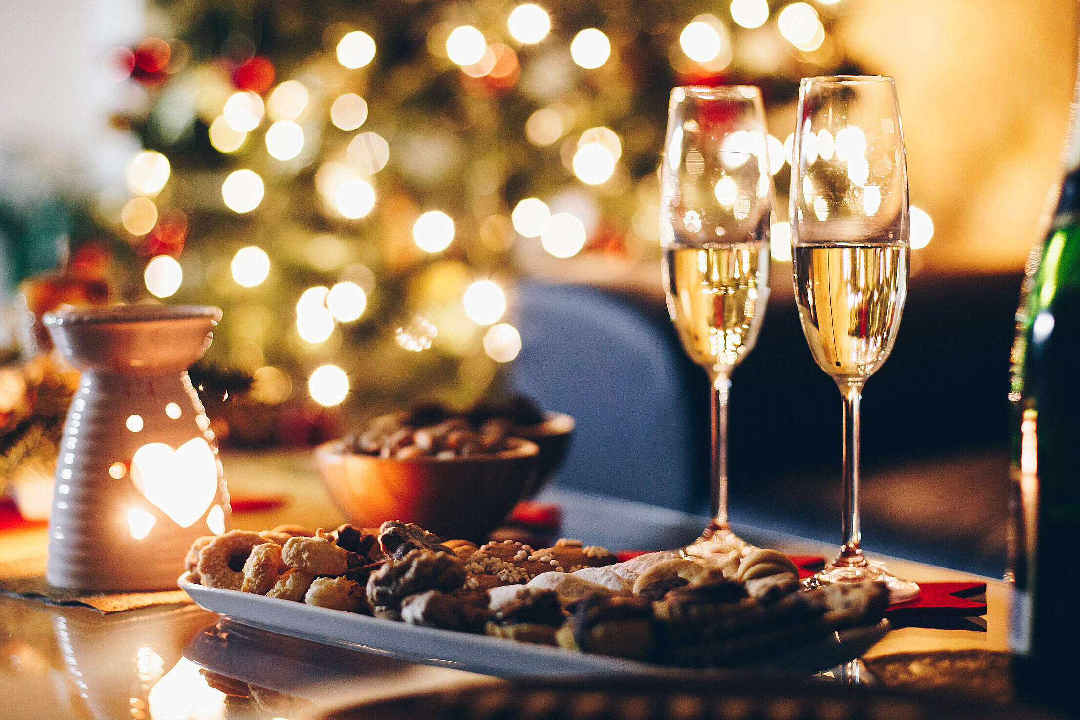 New Year's Eve Champagne Home Party Free Stock Photo