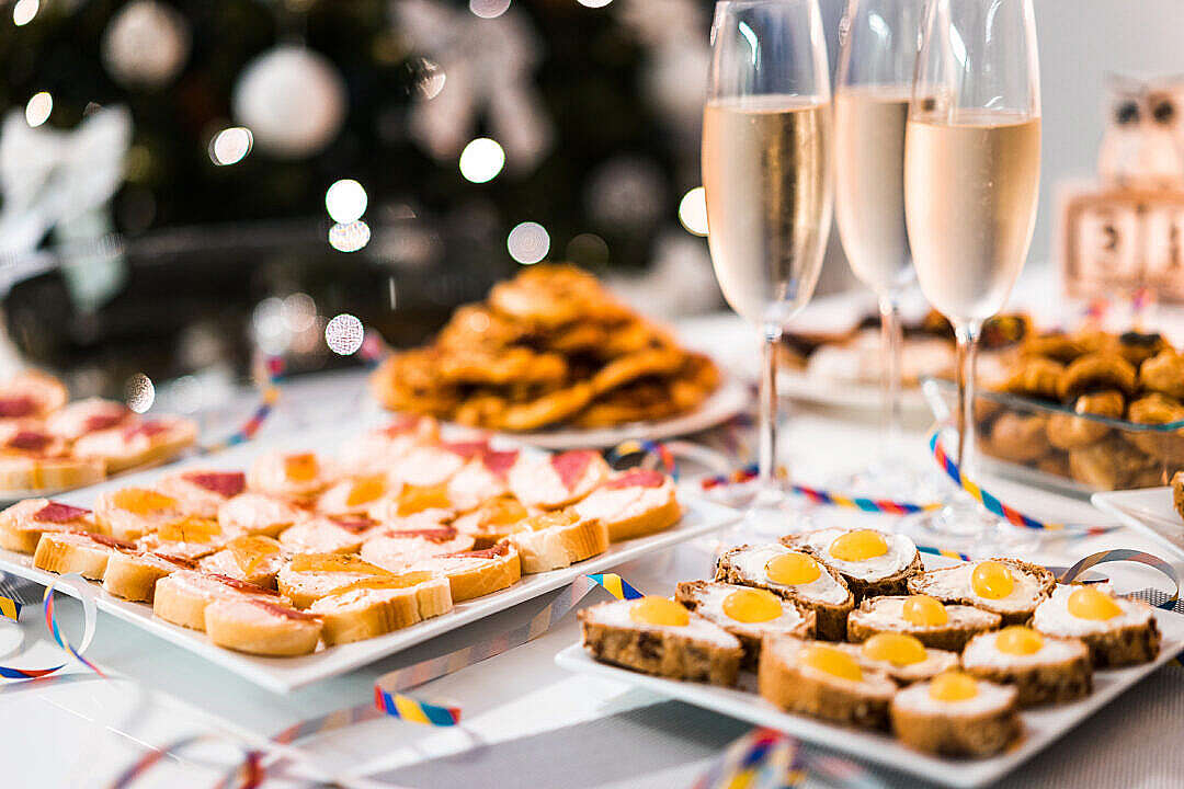 Download New Years Eve Home Party Food FREE Stock Photo