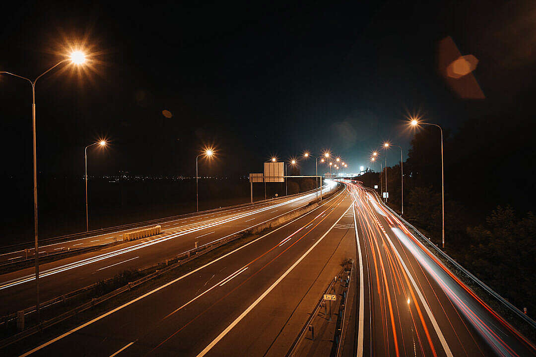 Download Night Car Lights on The Road FREE Stock Photo