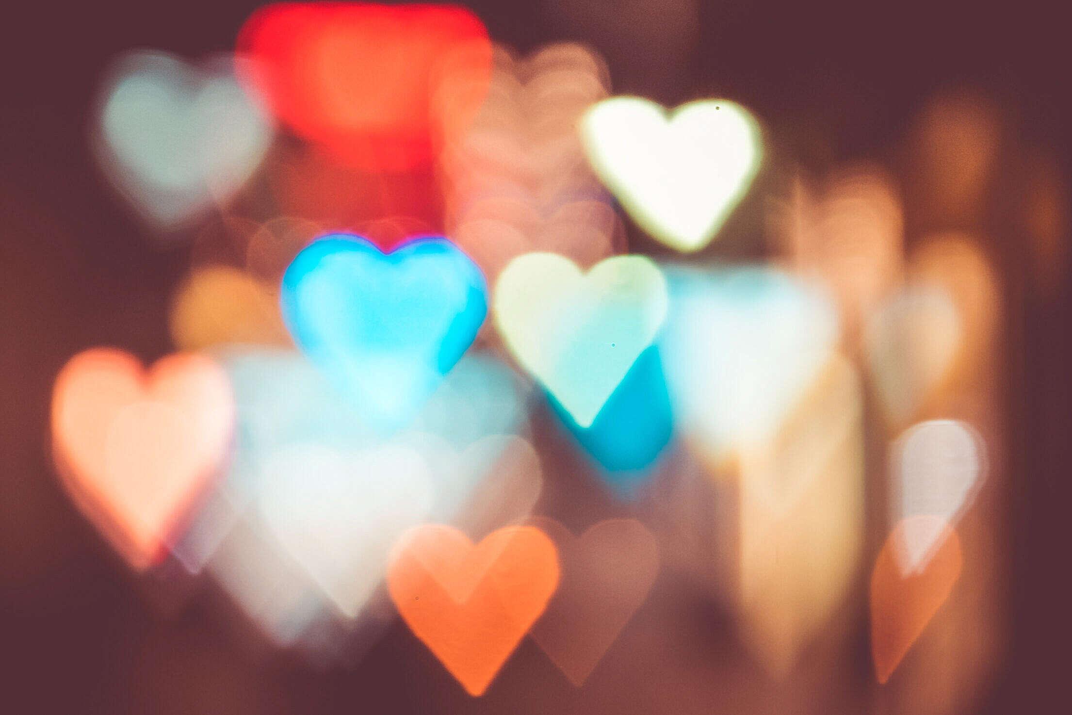 Night City Lights Abstract Heart Bokeh Trick Free Stock Photo