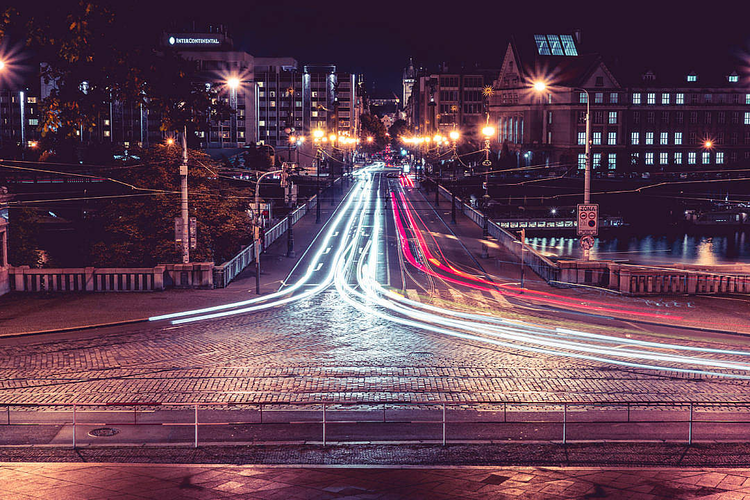 Download Night Crossroad Traffic in Prague Long Exposure FREE Stock Photo