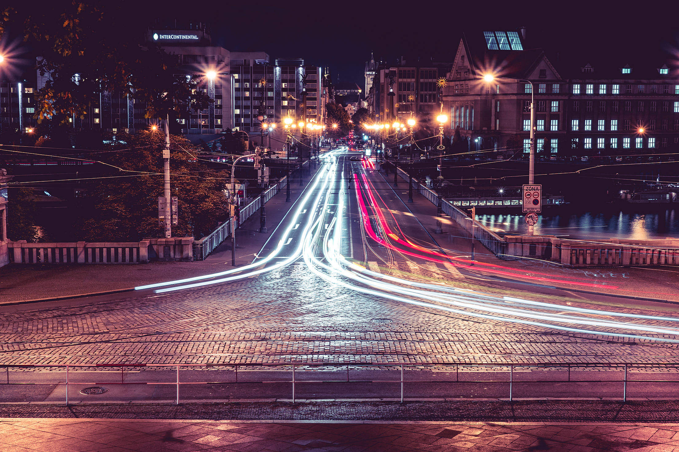 Night Crossroad Traffic in Prague Long Exposure Free Stock Photo