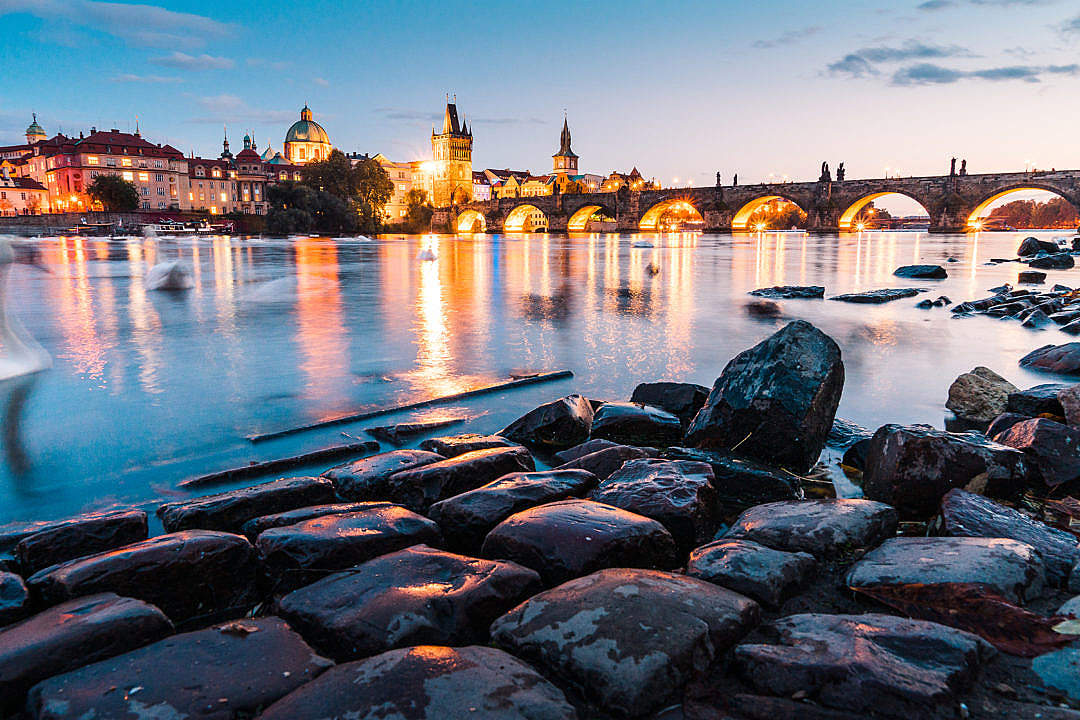 Download Night View of Charles Bridge FREE Stock Photo