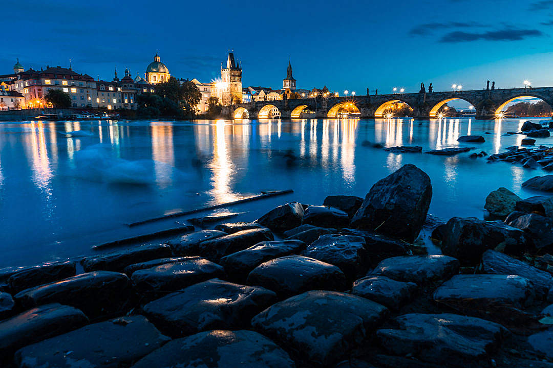 Download Night View of Charles Bridge in Prague FREE Stock Photo