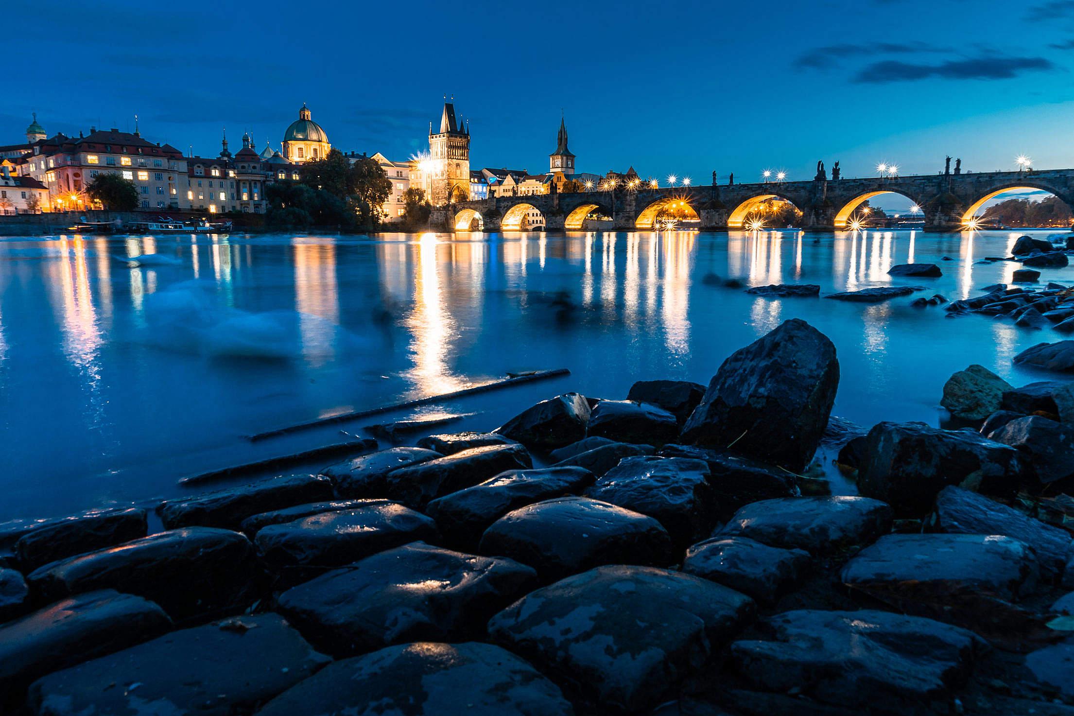 Night View of Charles Bridge in Prague Free Stock Photo