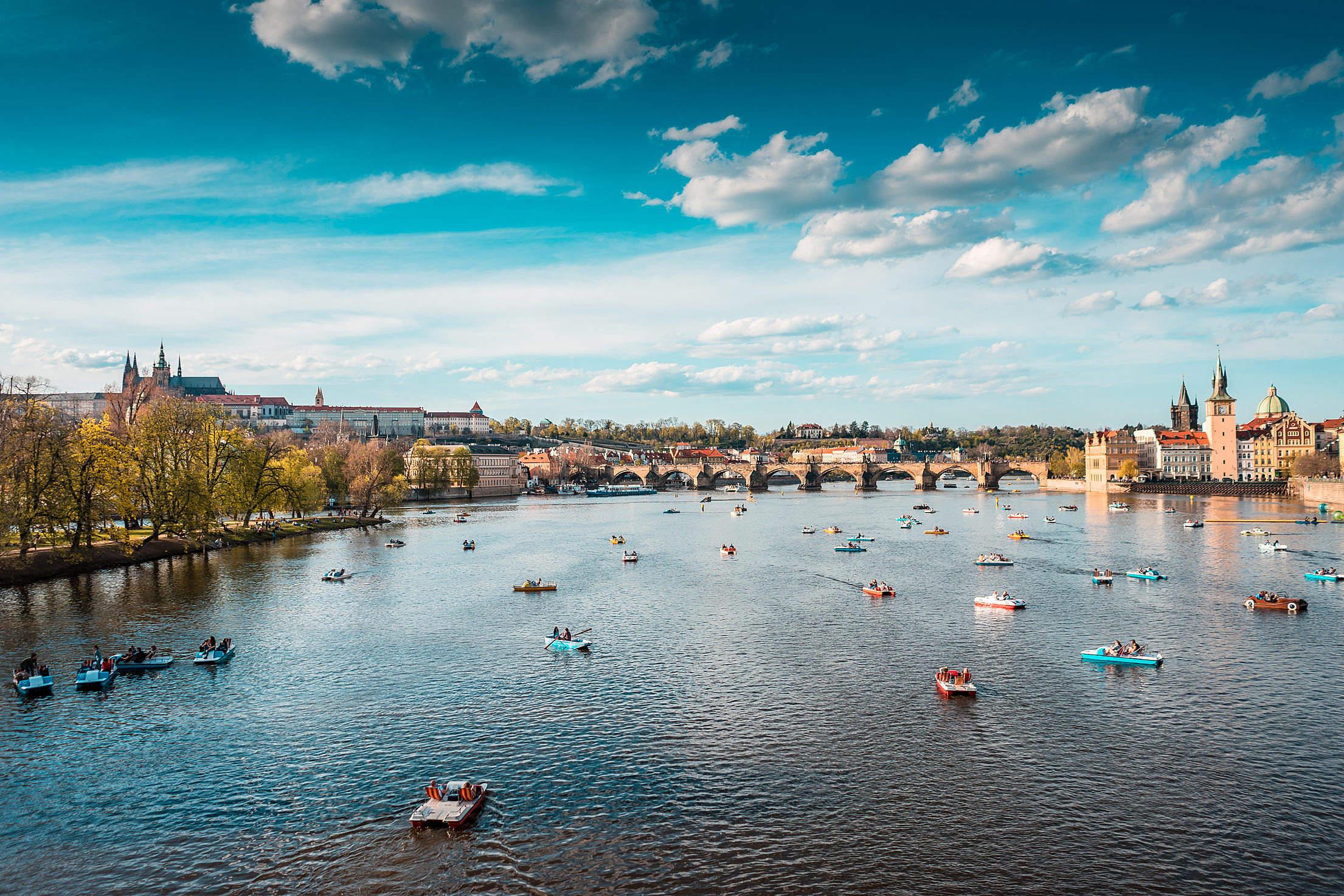 Normal Life Around Charles Bridge in Prague City Free Stock Photo