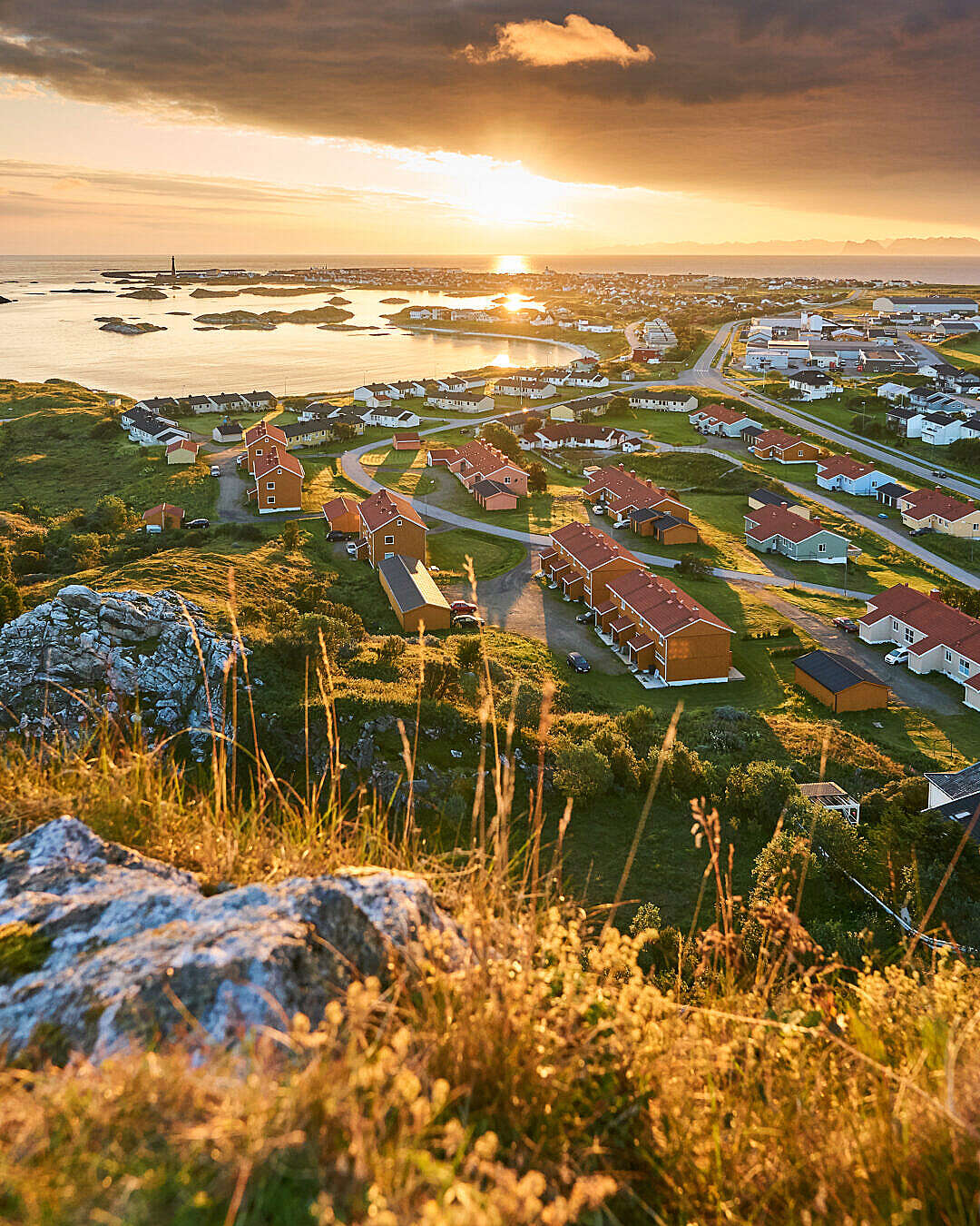 Download North Norwegian Town during Sunrise Vertical FREE Stock Photo
