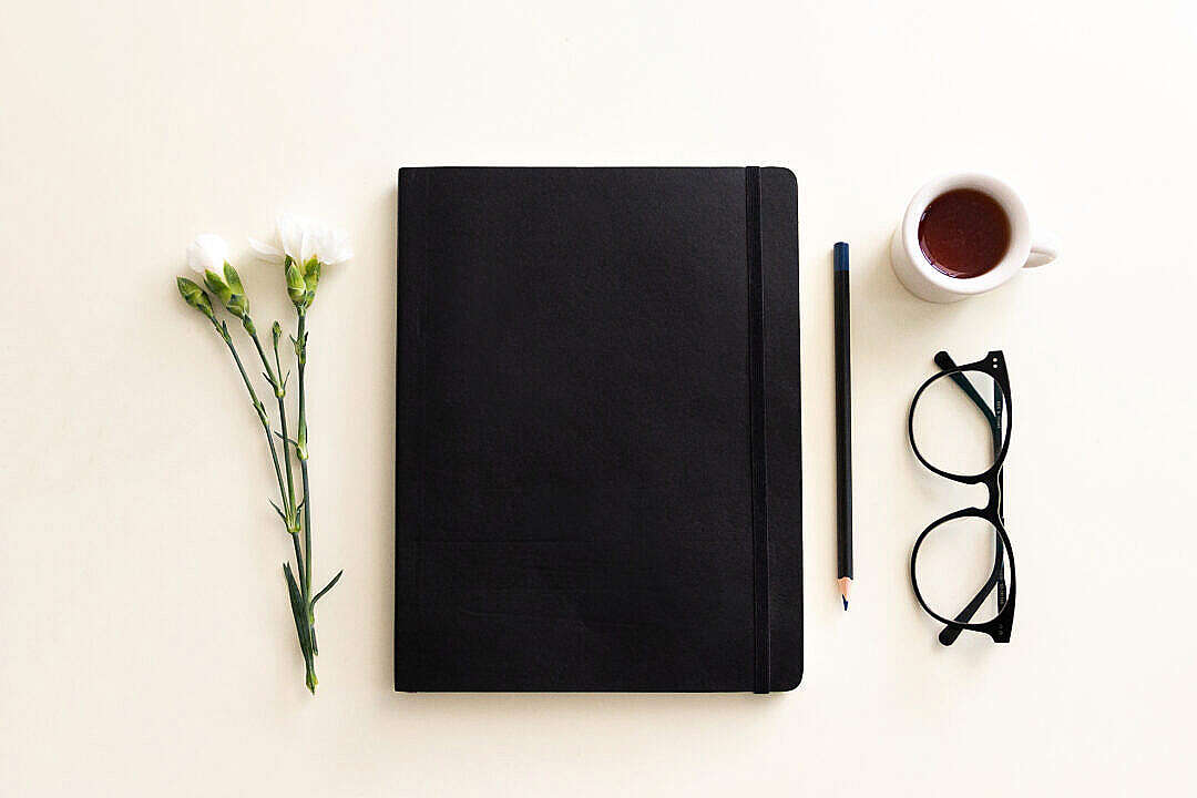 Download Notebook and Coffee Flatlay FREE Stock Photo