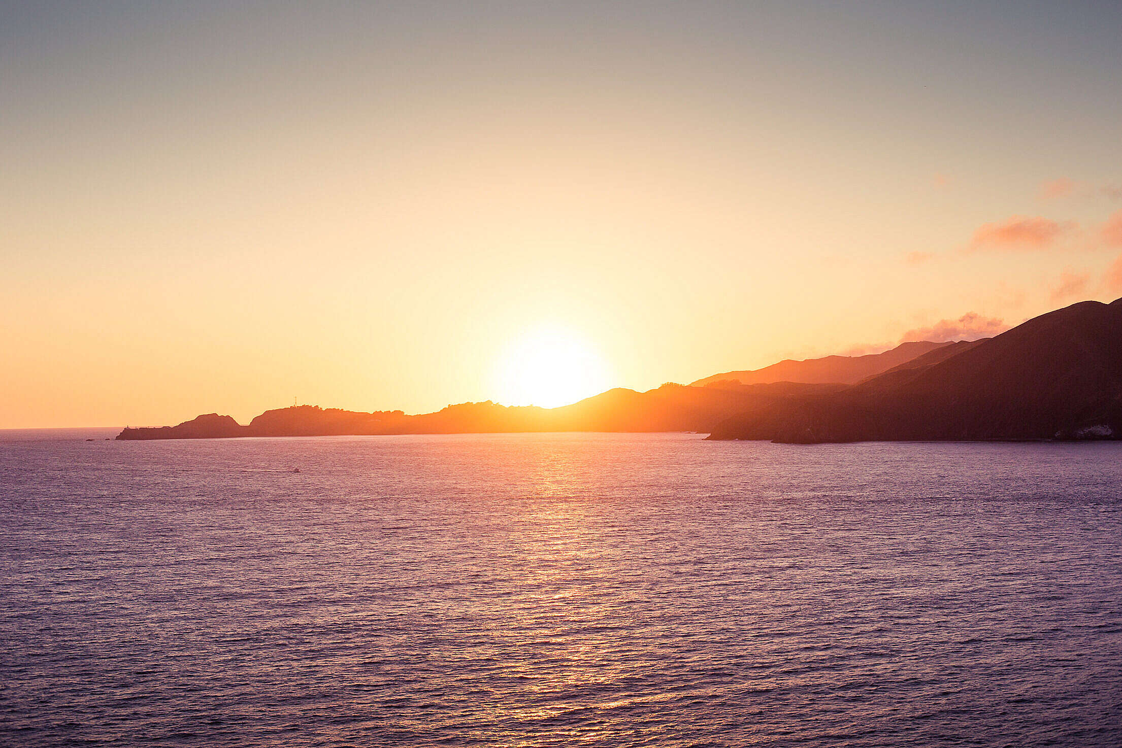 Ocean Panorama Sunset Free Stock Photo