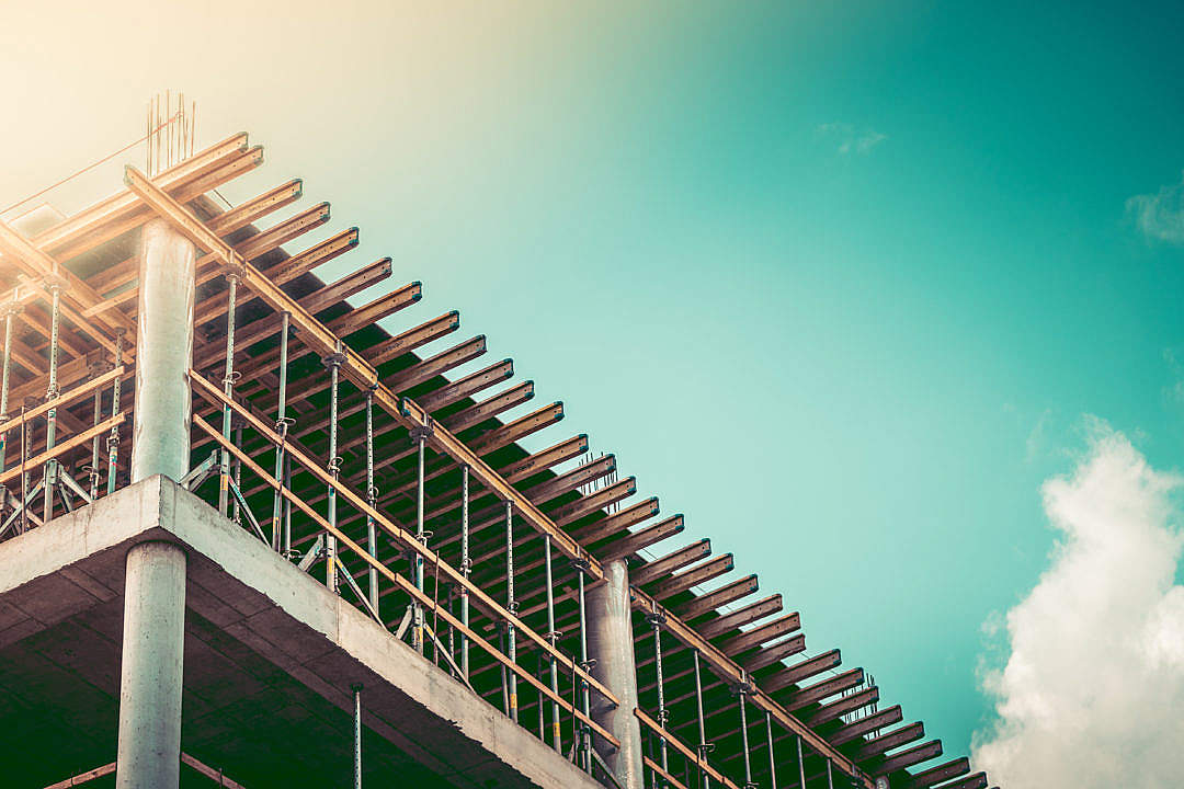 Download Office Building Construction Site with Room for Text FREE Stock Photo