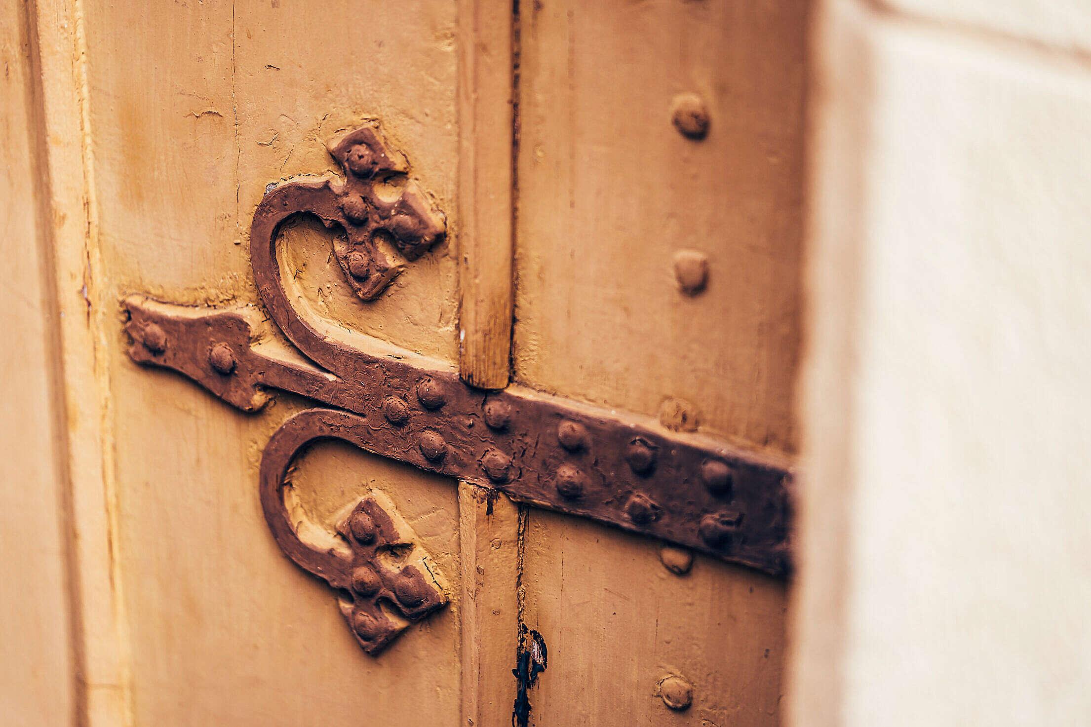 Old Antique Door Decorative Details Free Stock Photo