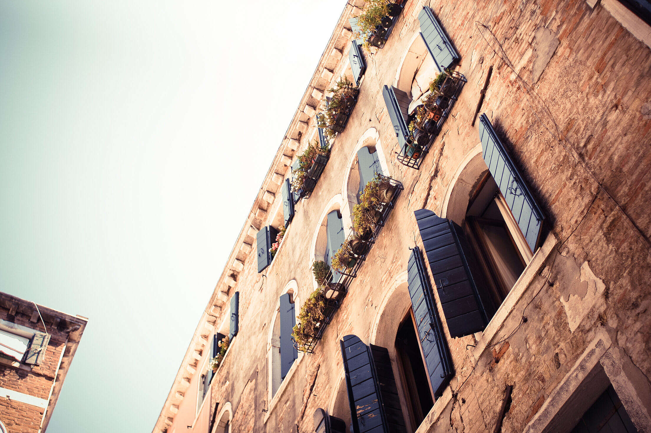 Old Blue Wooden Windows in Venice Free Stock Photo