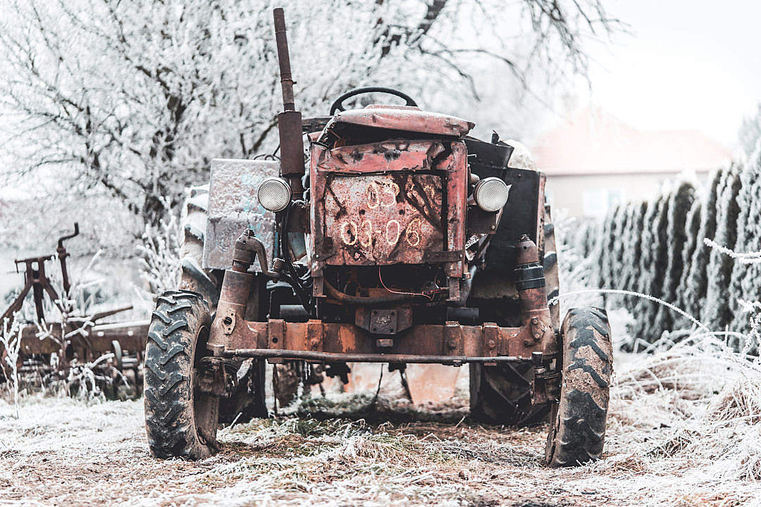 Download Old Broken Tractor FREE Stock Photo