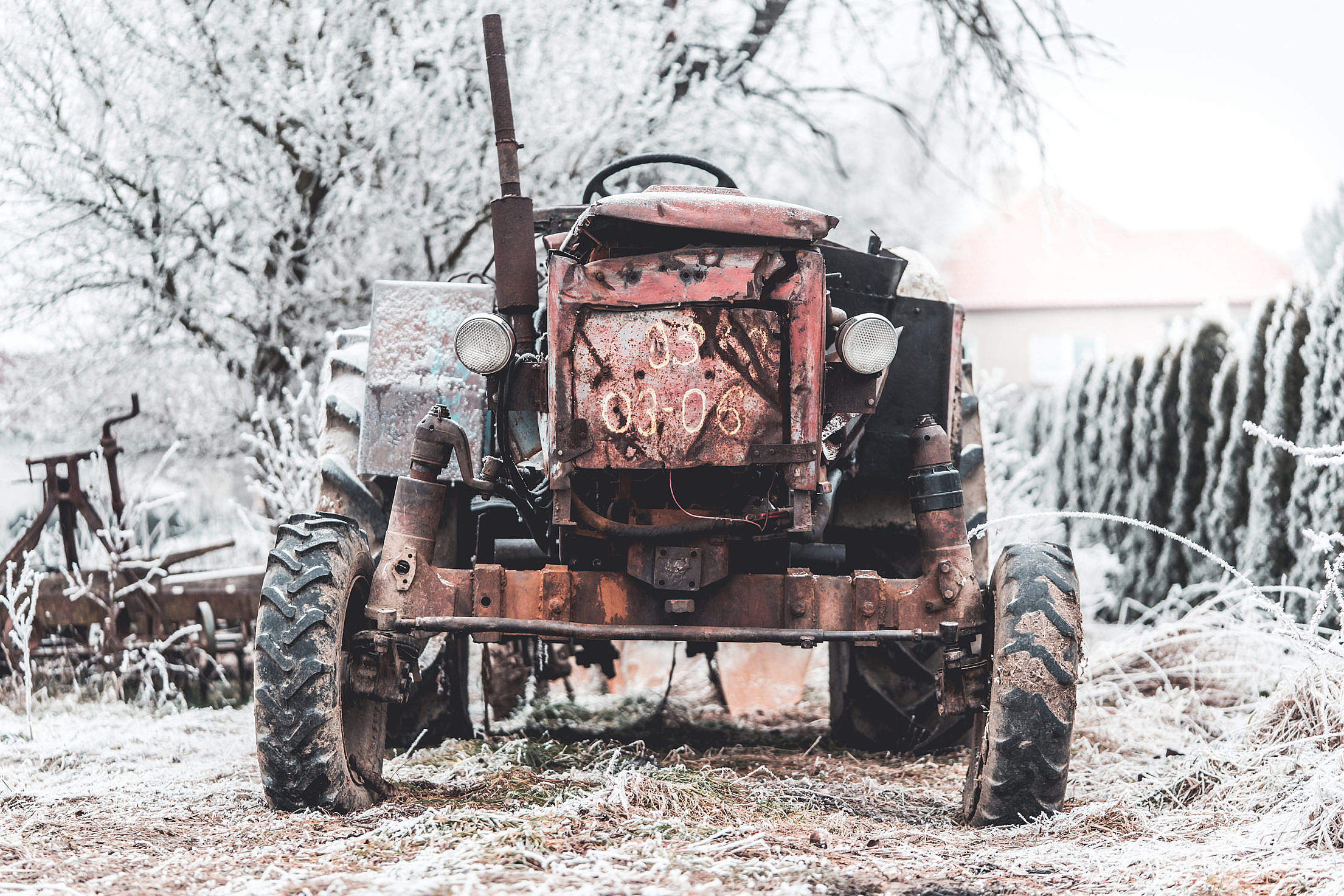 Old Broken Tractor Free Stock Photo