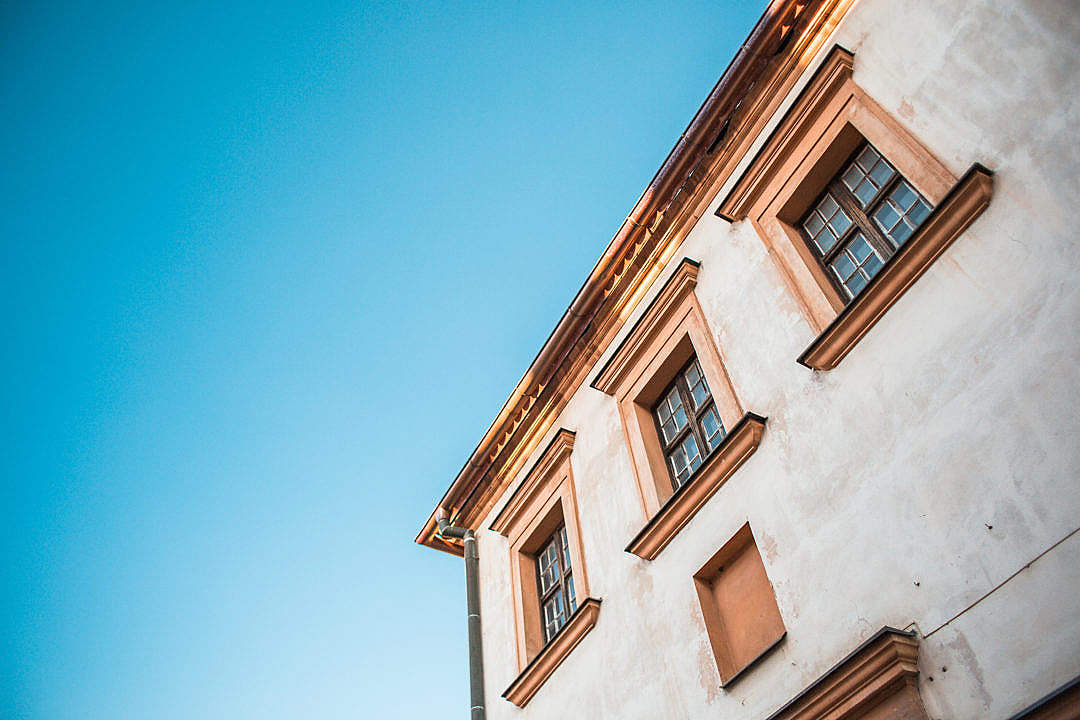 Download Old House and Bright Blue Sky FREE Stock Photo