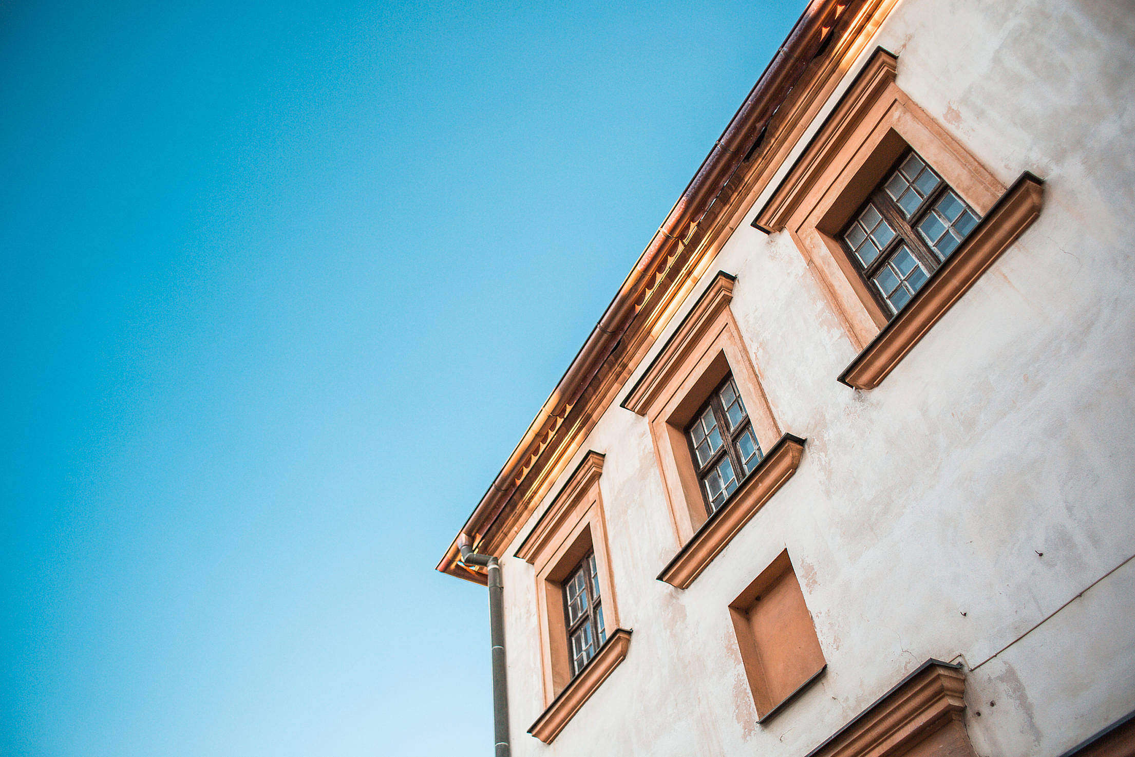 Old House and Bright Blue Sky Free Stock Photo