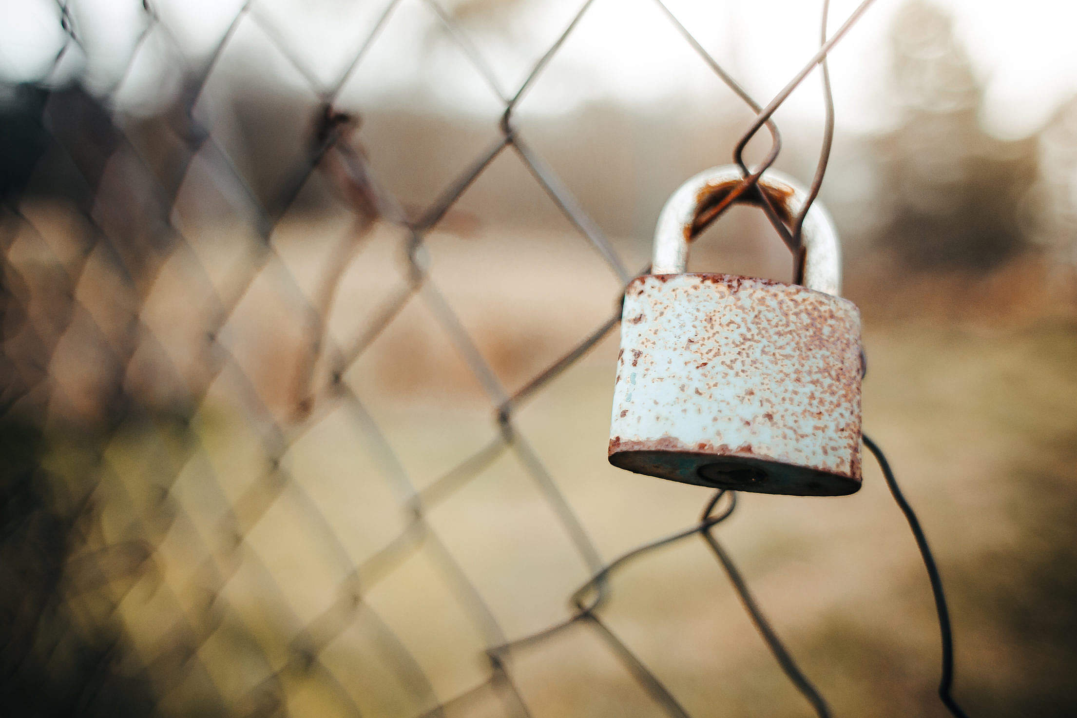Old Lock on the Fence Free Stock Photo