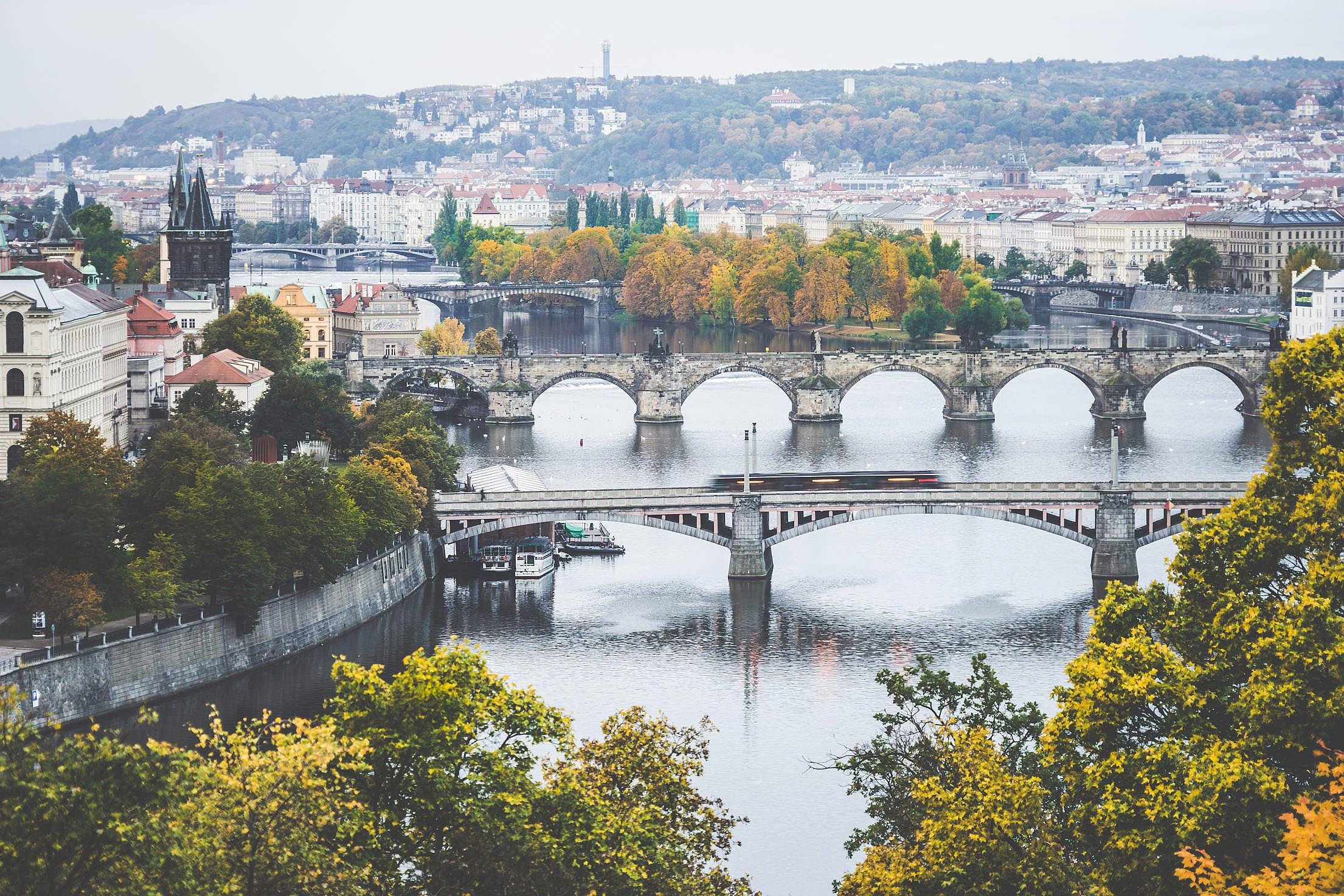 Old Prague Bridges in Autumn Morning Free Stock Photo