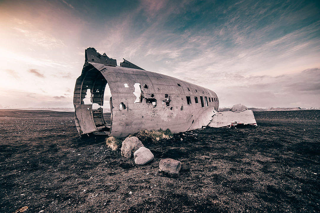 Download Old Ruined Plane on The Coast of Iceland FREE Stock Photo