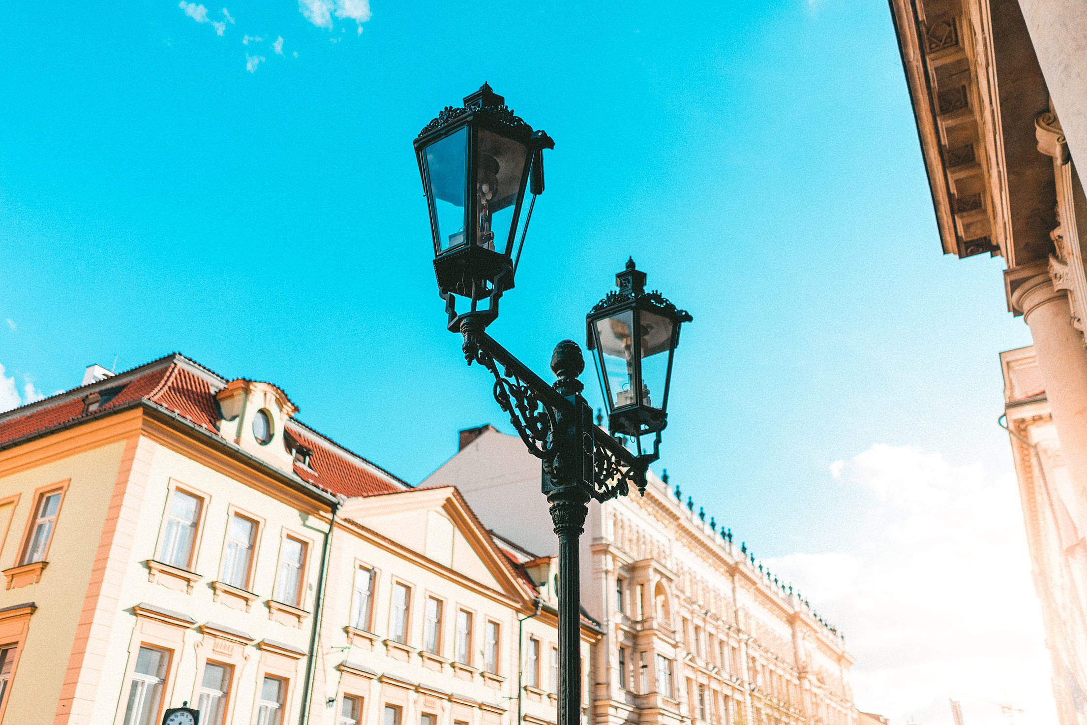 Old Street Lights in Prague Free Stock Photo