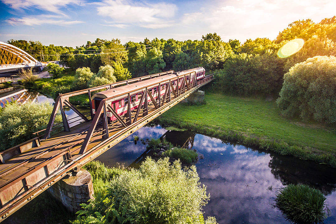 Download Old Train Crossing the Old Steel Bridge FREE Stock Photo