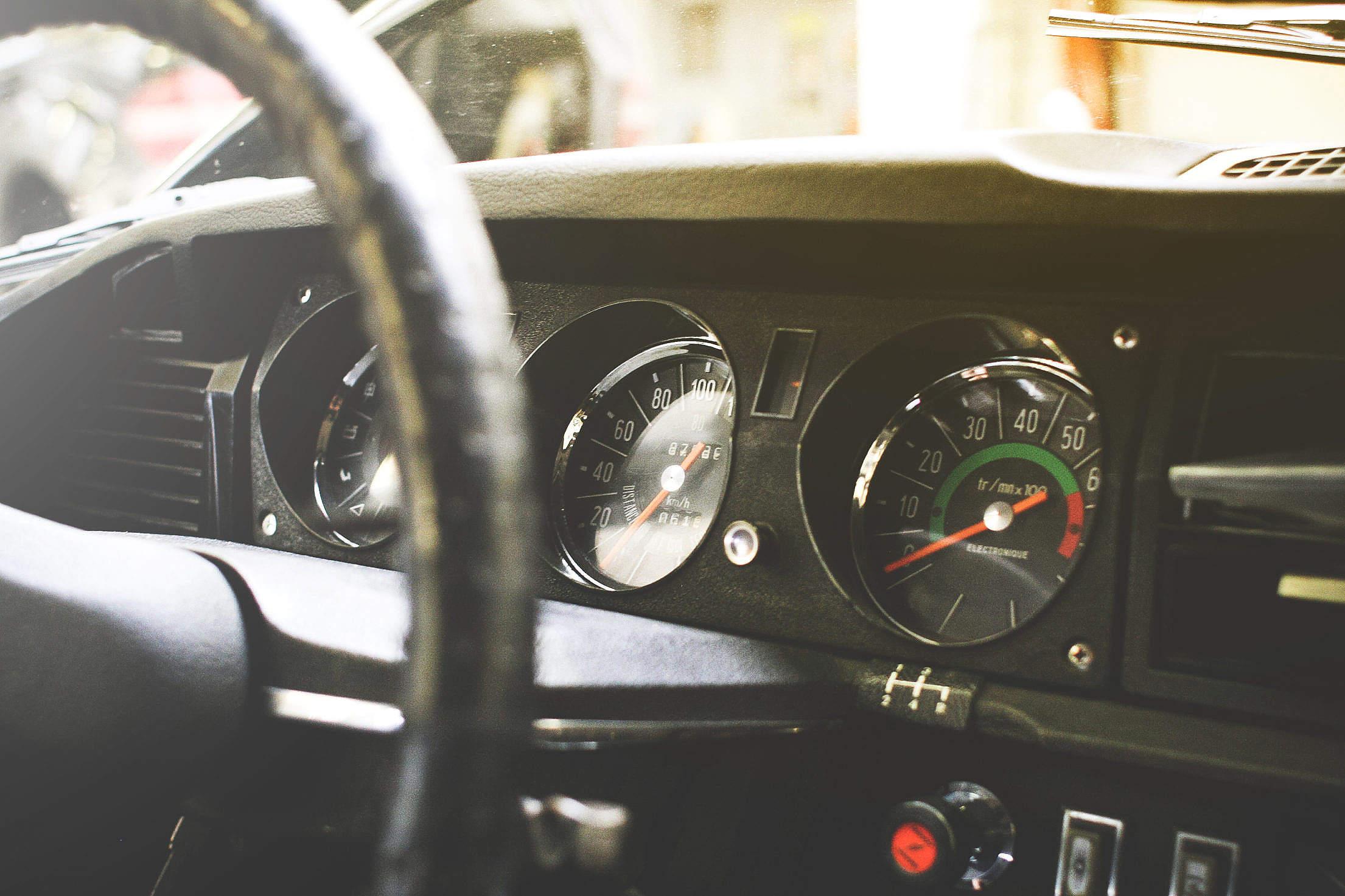 Old veteran Car Dashboard Free Stock Photo