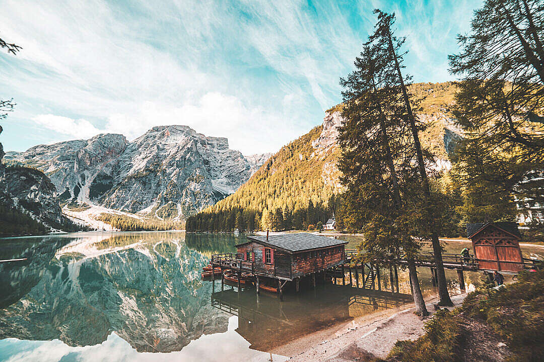 Download Old Wooden House on Braies Lake, Italy Dolomites FREE Stock Photo