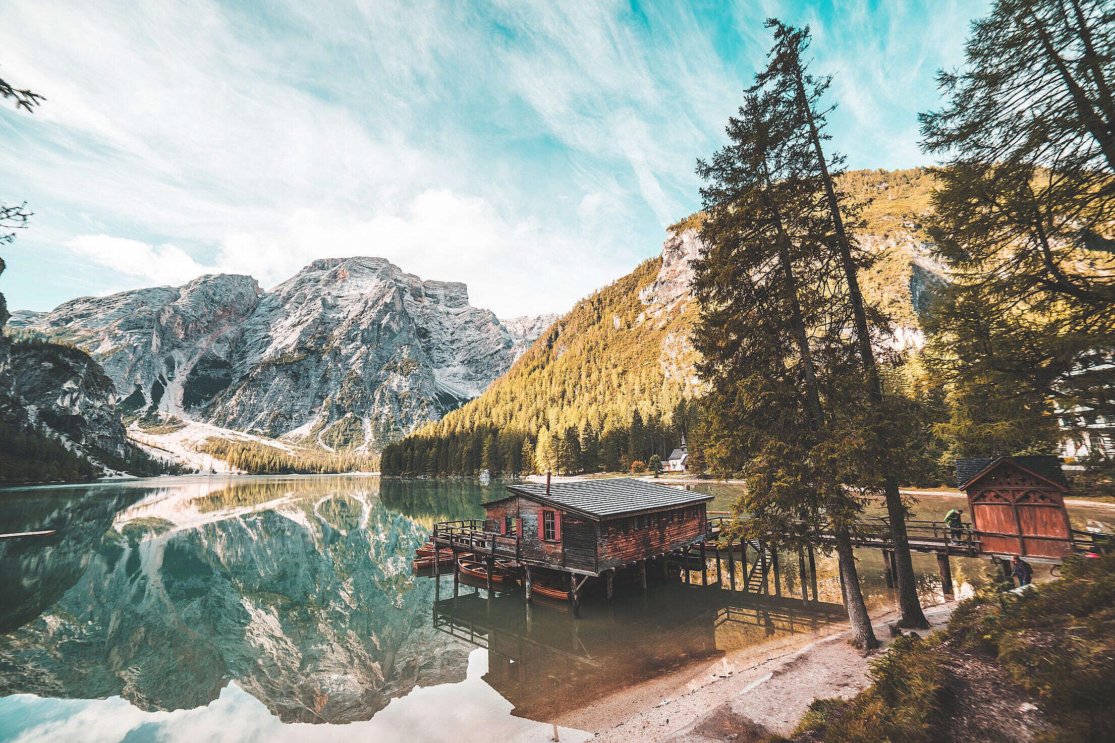 Old Wooden House on Braies Lake, Italy Dolomites Free Stock Photo