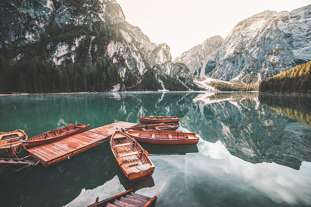 Download Old Wooden Rowing Boats on Lago di Braies (Pragser Wildsee) FREE Stock Photo