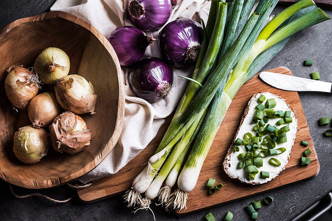 Download Onions and Super Healthy Morning Detox Breakfast FREE Stock Photo