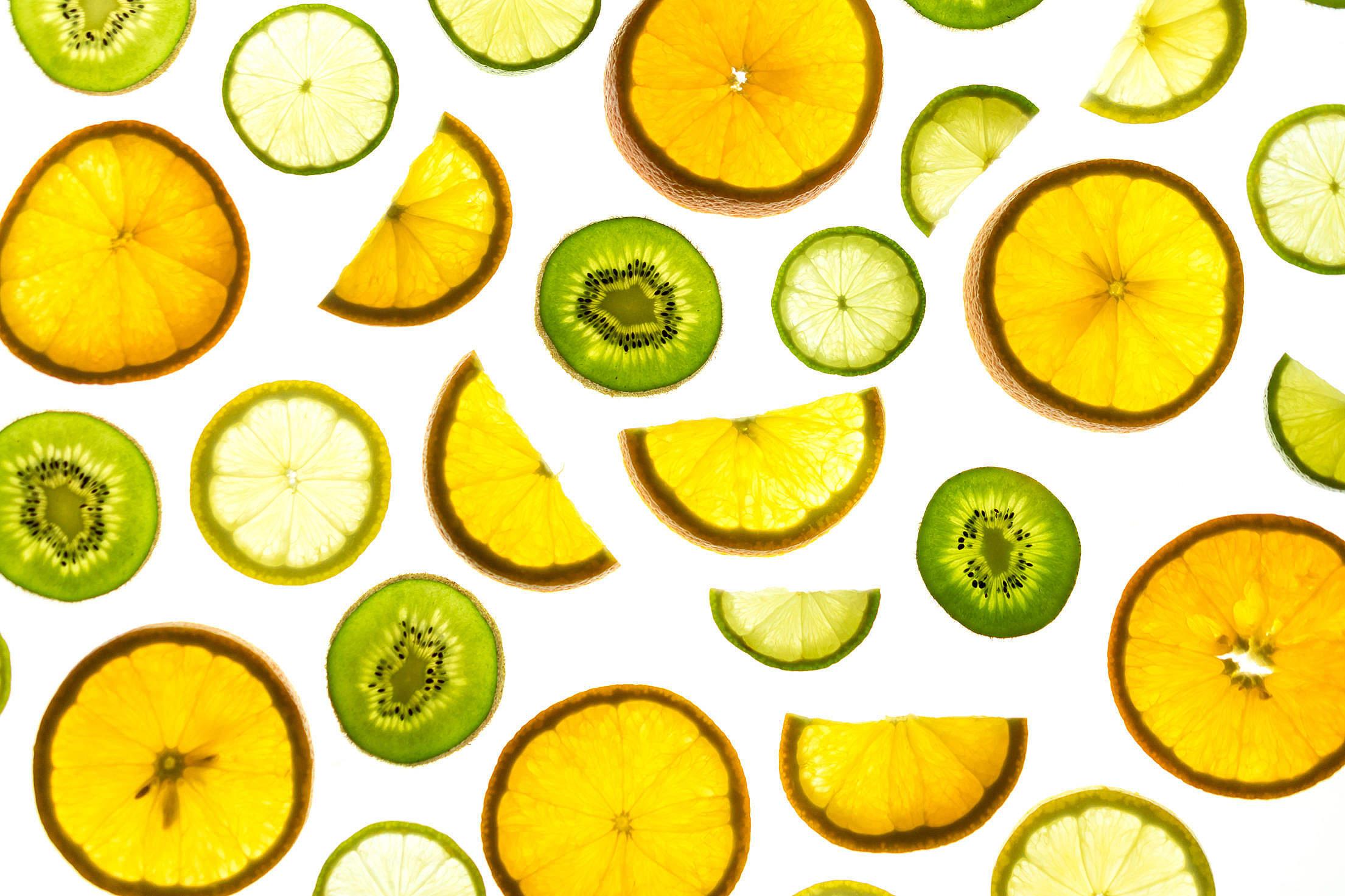 Orange Lemon Kiwi Fruits Free Stock Photo
