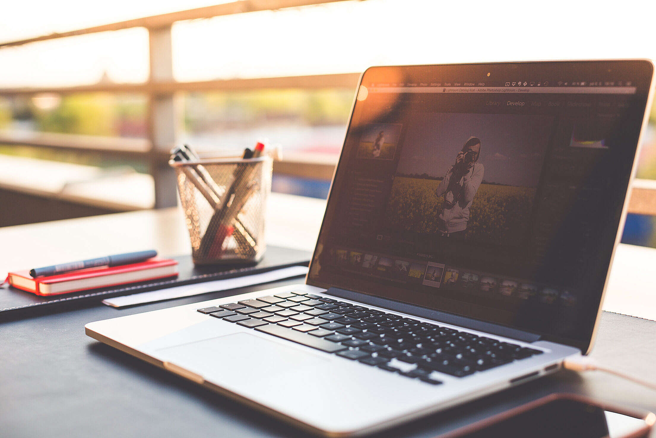 Outdoor Garden Office Working Desk With Laptop Free Stock Photo
