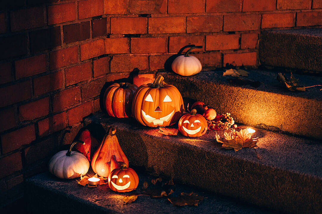 Download Outdoor Homemade Halloween Decoration on Entrance Stairs FREE Stock Photo
