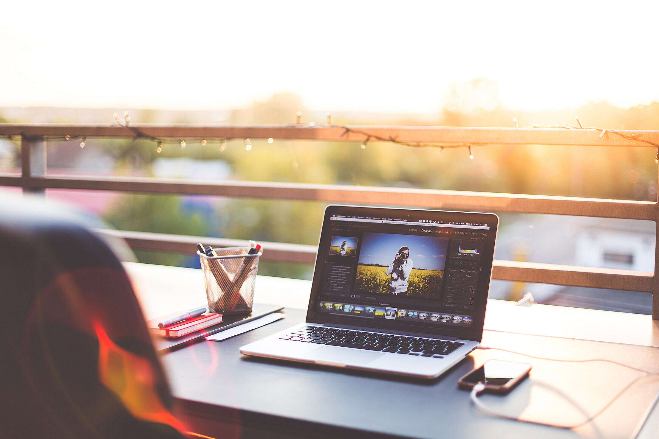 Outdoor Office Workspace Setup with High Ceiling Free Stock Photo