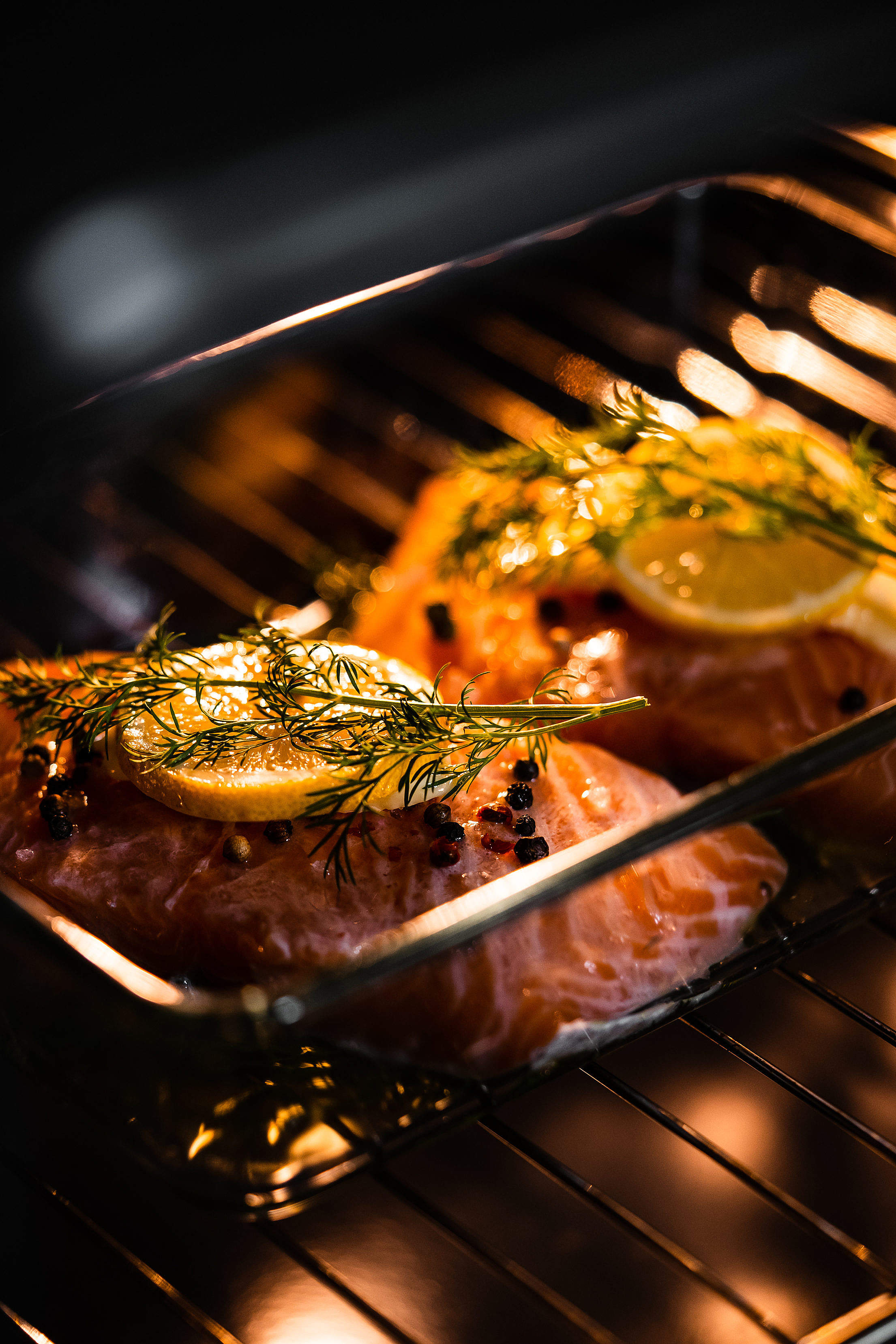 Oven Baking Salmon Fillets Free Stock Photo