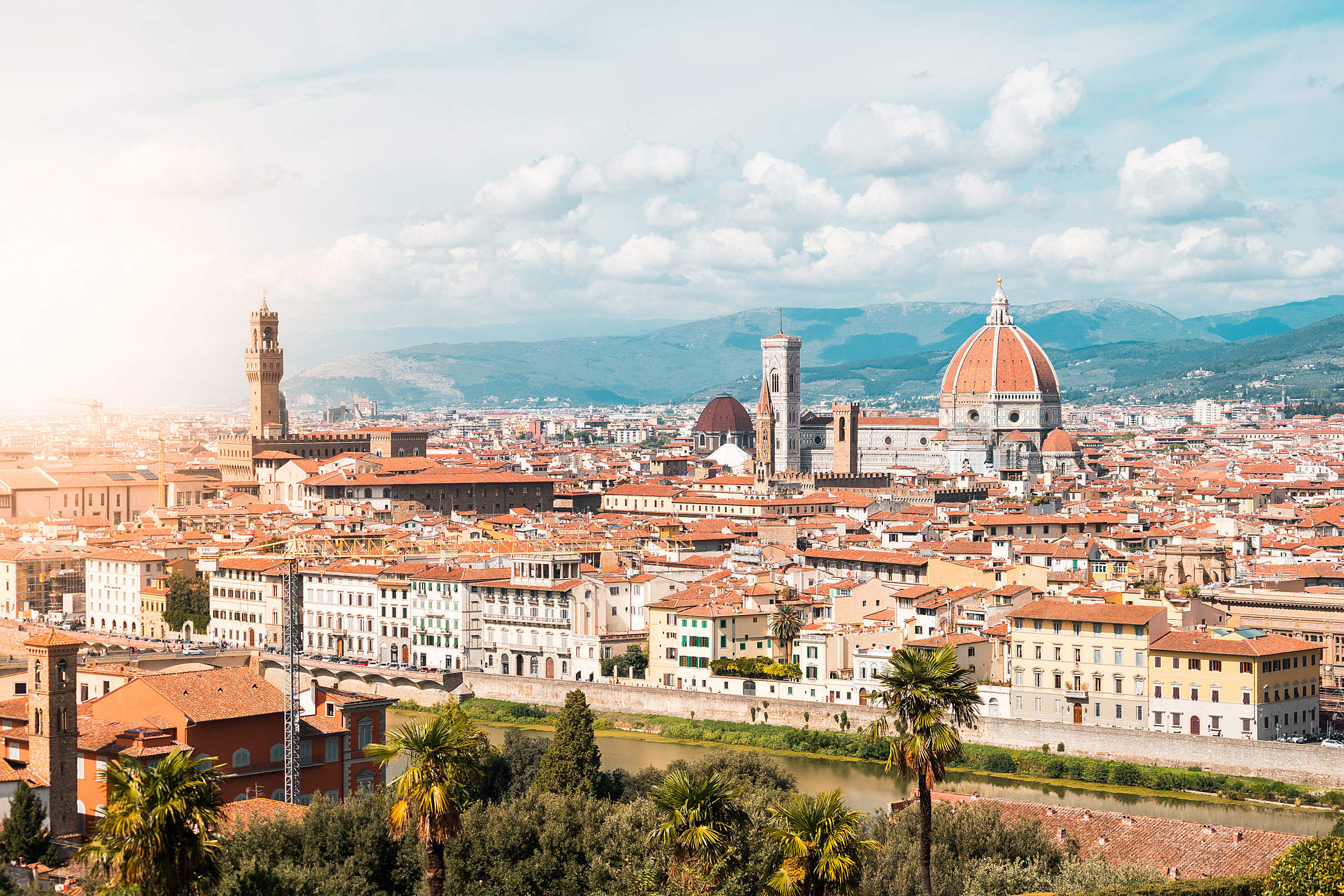Palazzo Vecchio and Duomo S. Maria del Fiore in Florence, Italy Free Stock Photo