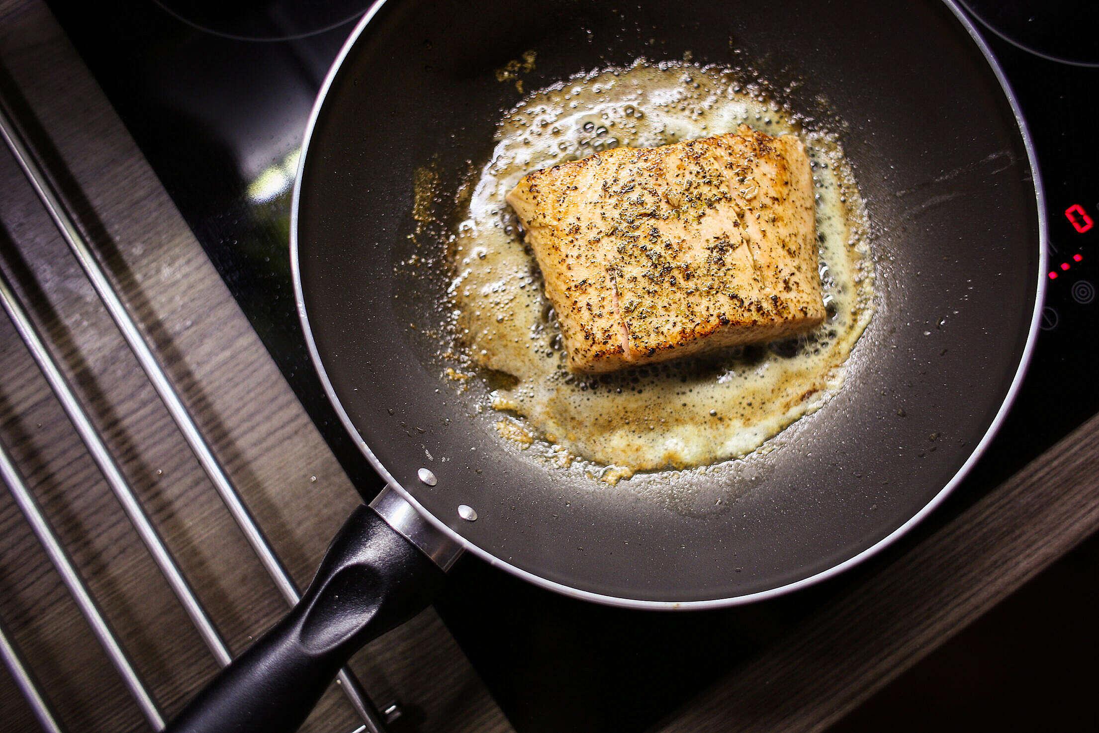 Pan-Seared Salmon Steak Fillet Free Stock Photo