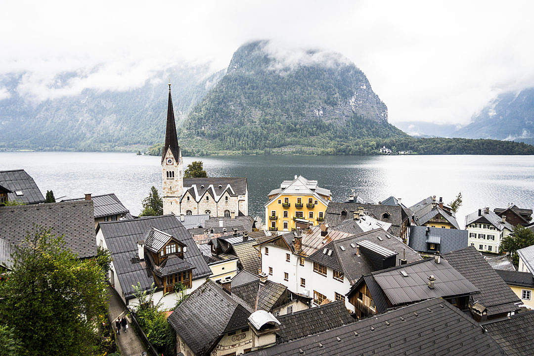 Download Panorama Over the Little Town Hallstatt in Austria FREE Stock Photo