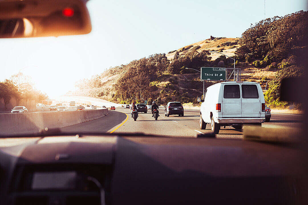 Download Passenger Seat View From a Car on a California Road FREE Stock Photo