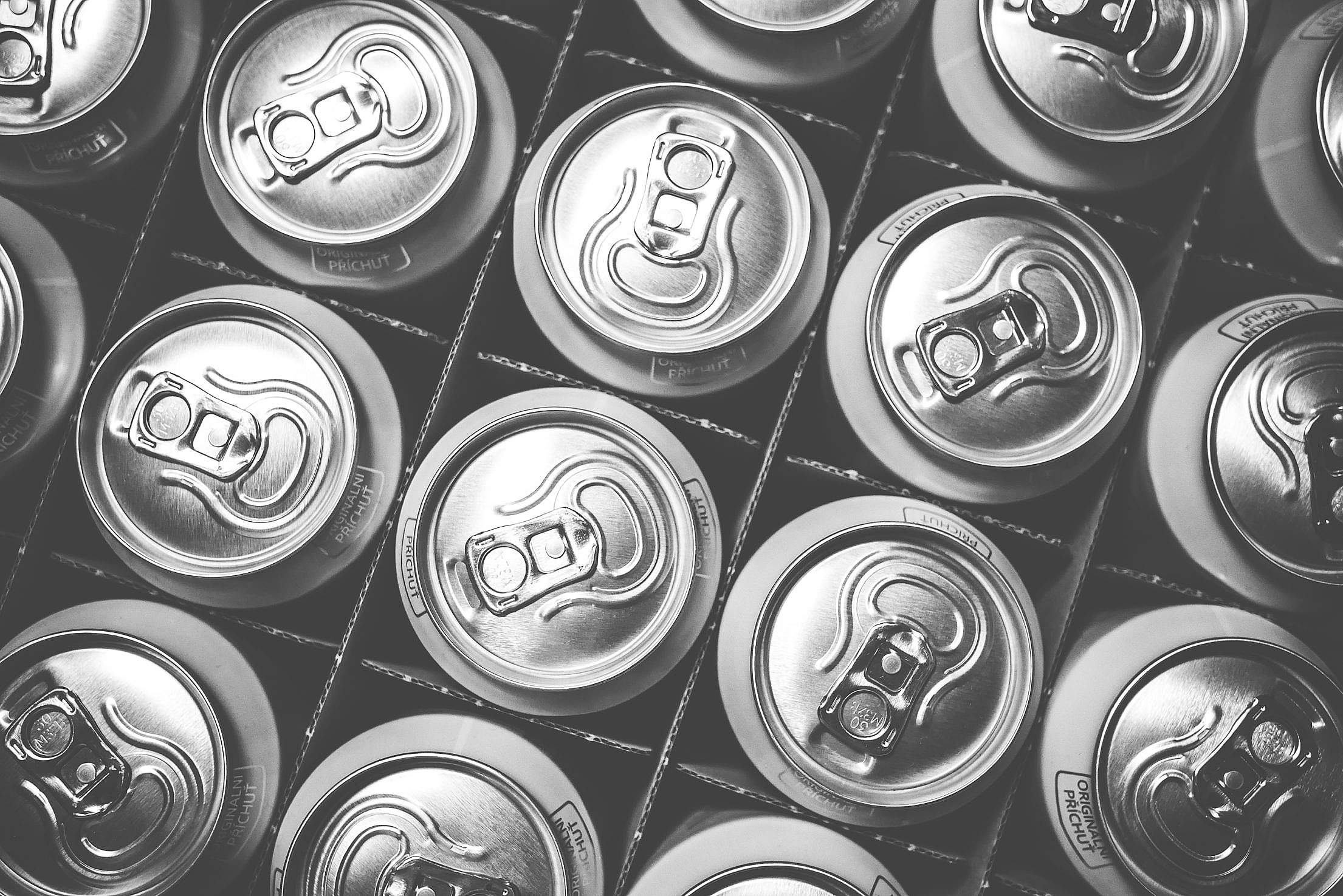 Pattern of Soda Drink Cans Free Stock Photo
