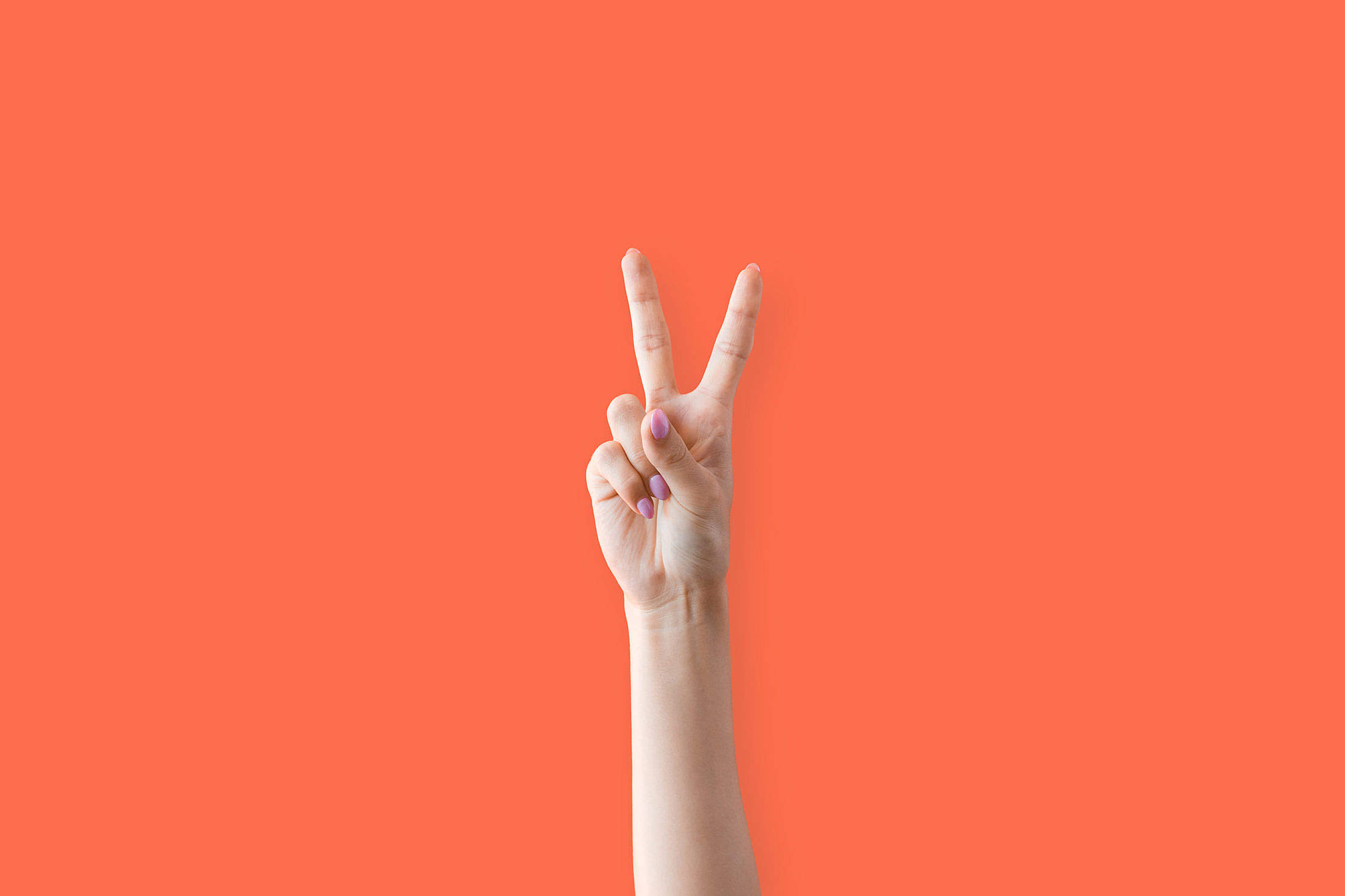 Peace Hand Sign Two Fingers Up Woman Free Stock Photo