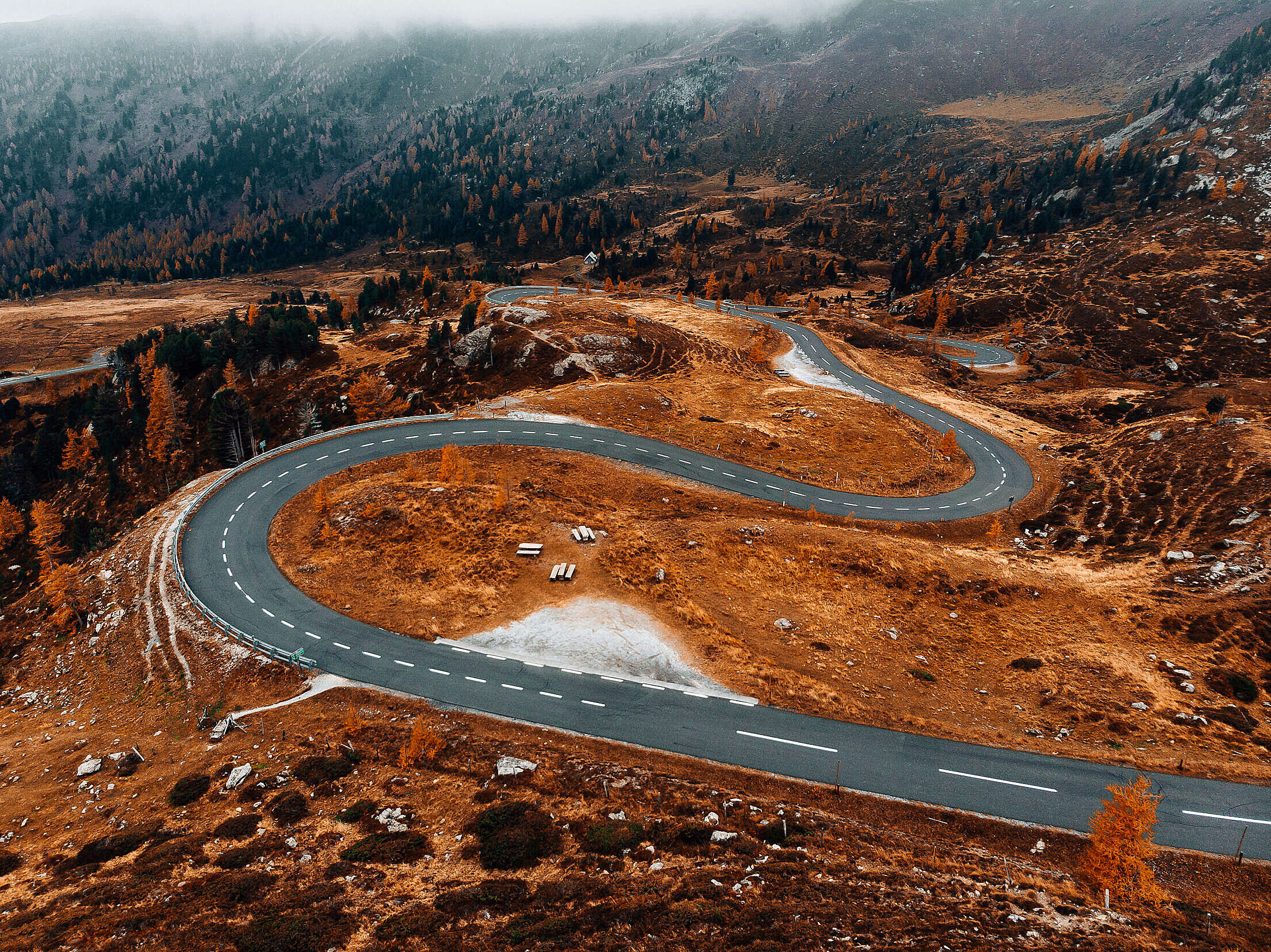 Perfect Curvy Road in The Mountains Free Stock Photo