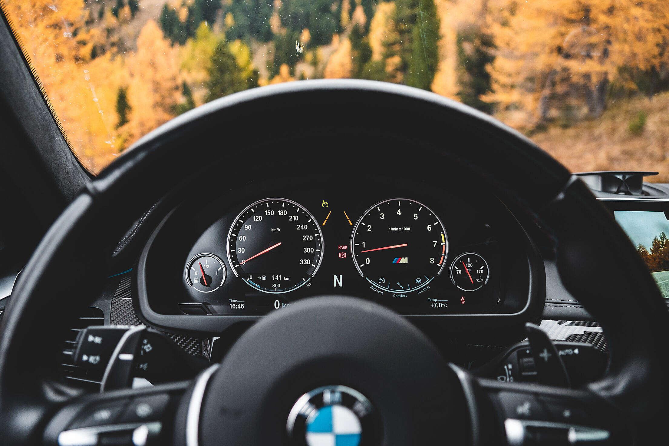 Petrol BMW M Car Dashboard Free Stock Photo