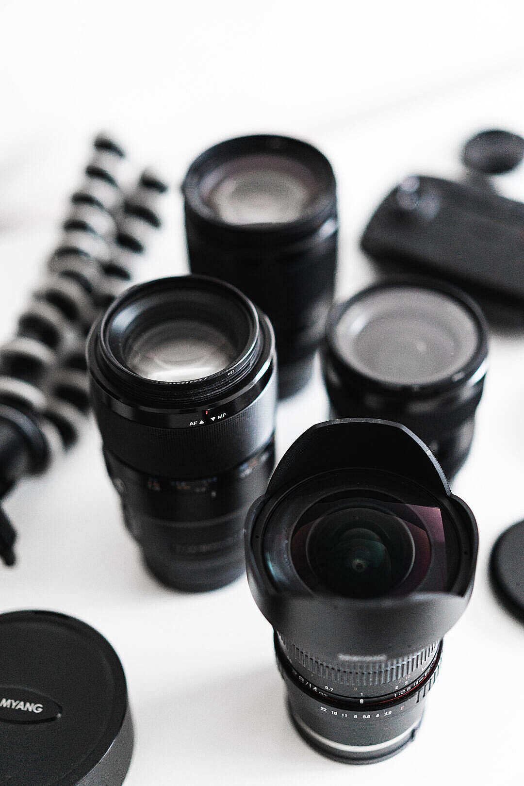 Download Photographer's Gear Lenses FREE Stock Photo