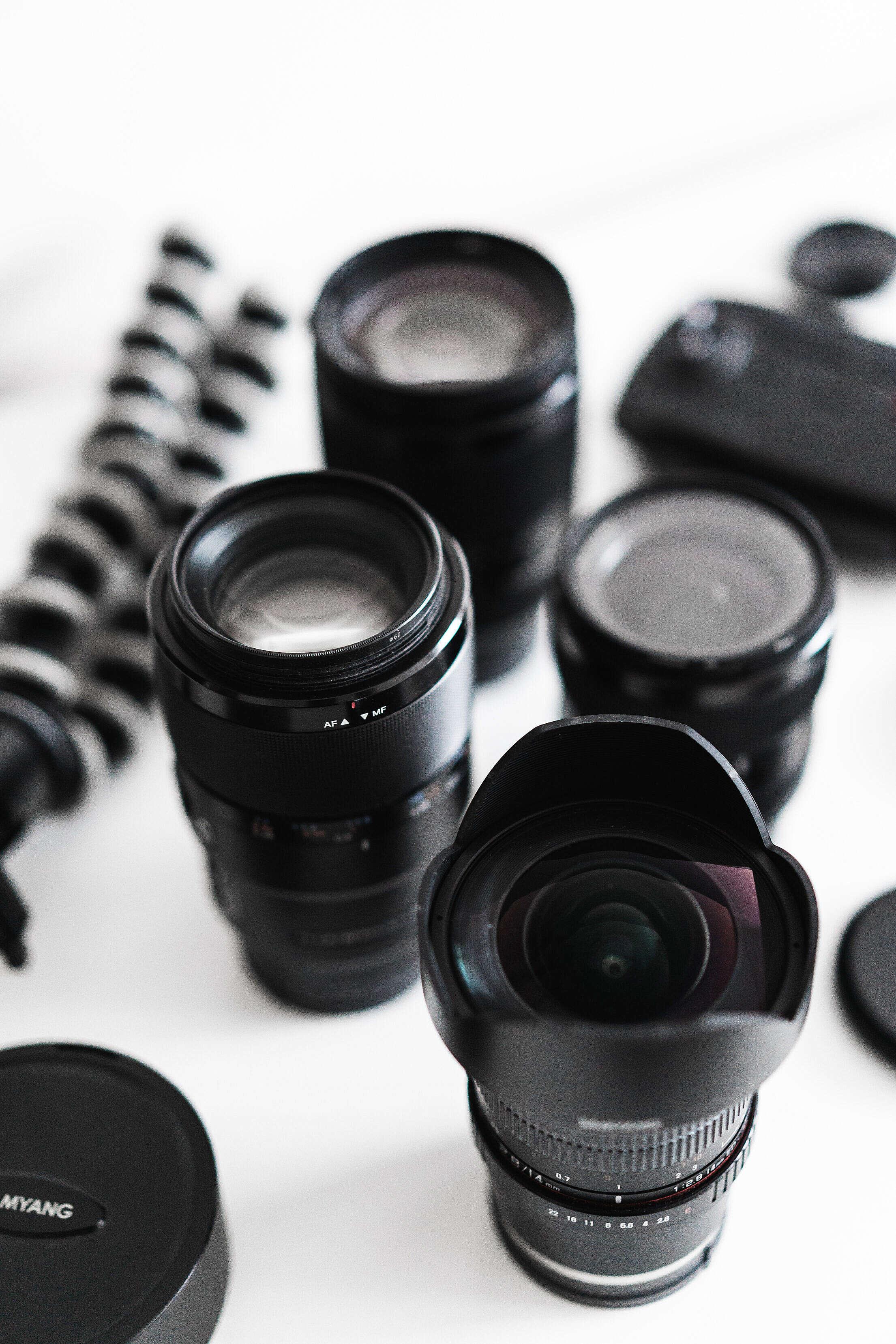 Photographer's Gear Lenses Free Stock Photo