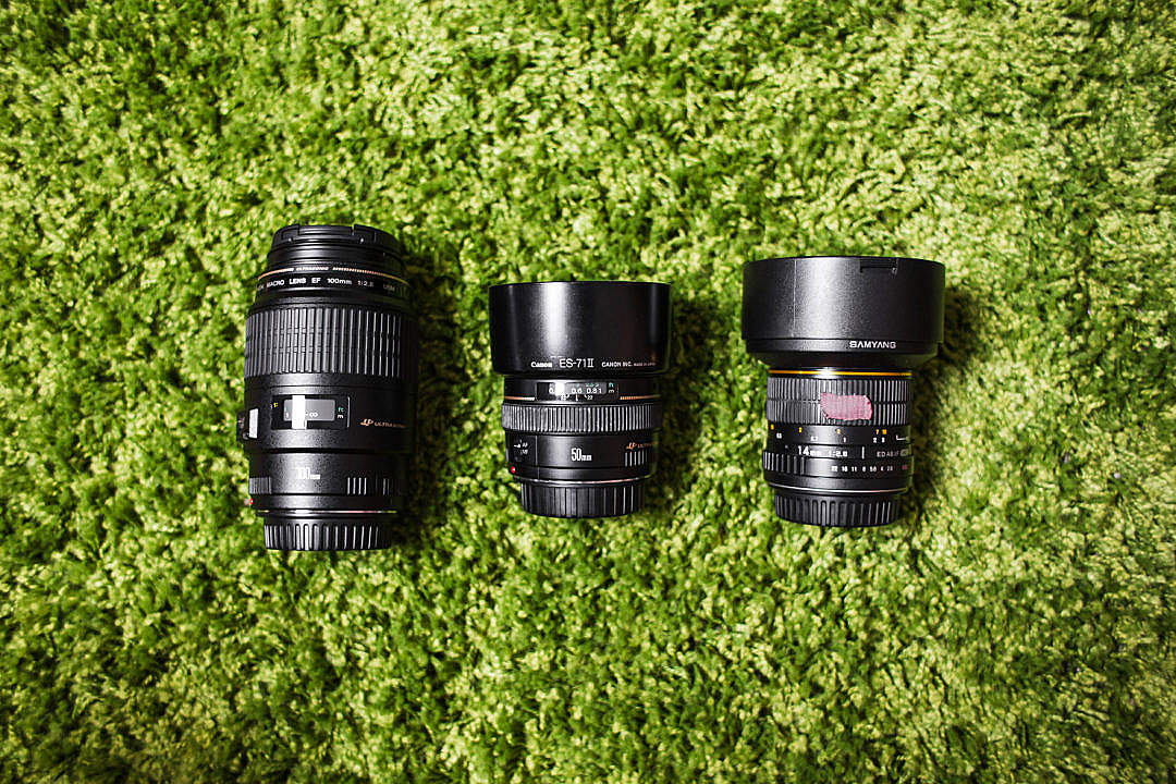 Download Photography Camera DSLR Lenses on Green Carpet FREE Stock Photo