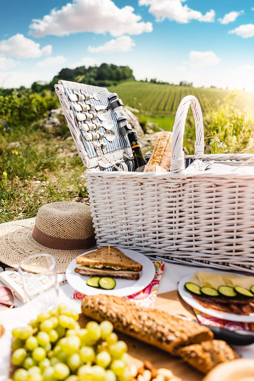 Download Picnic Basket FREE Stock Photo