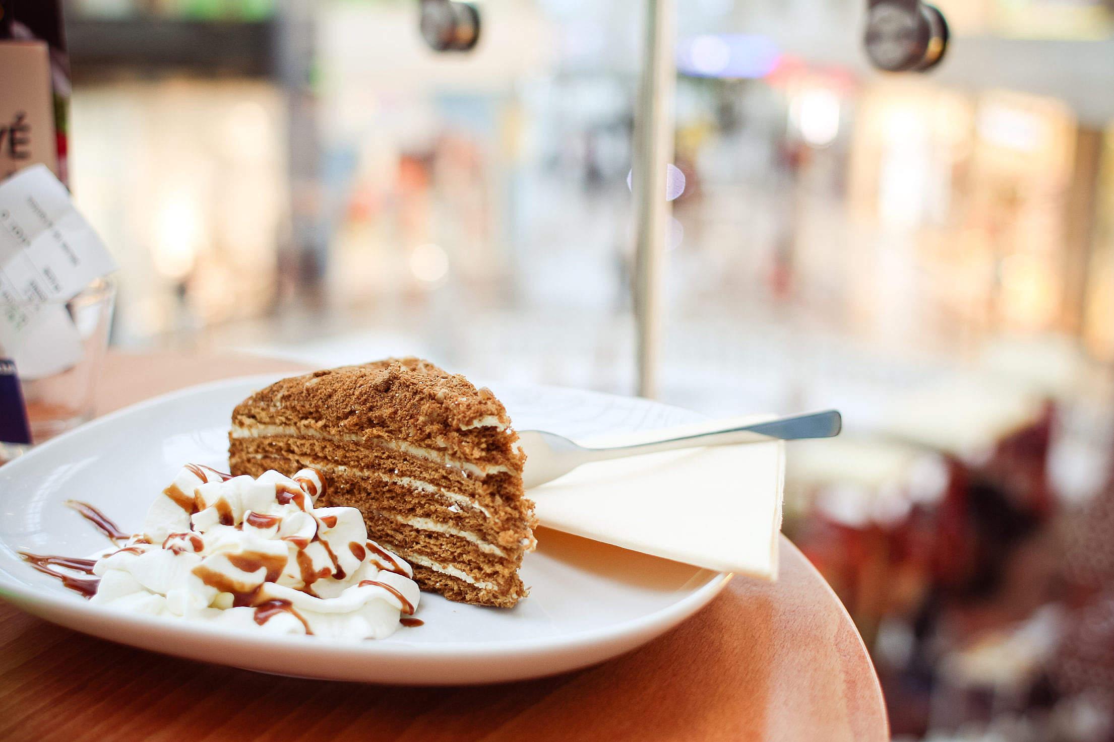 Piece of Honey Cake Free Stock Photo