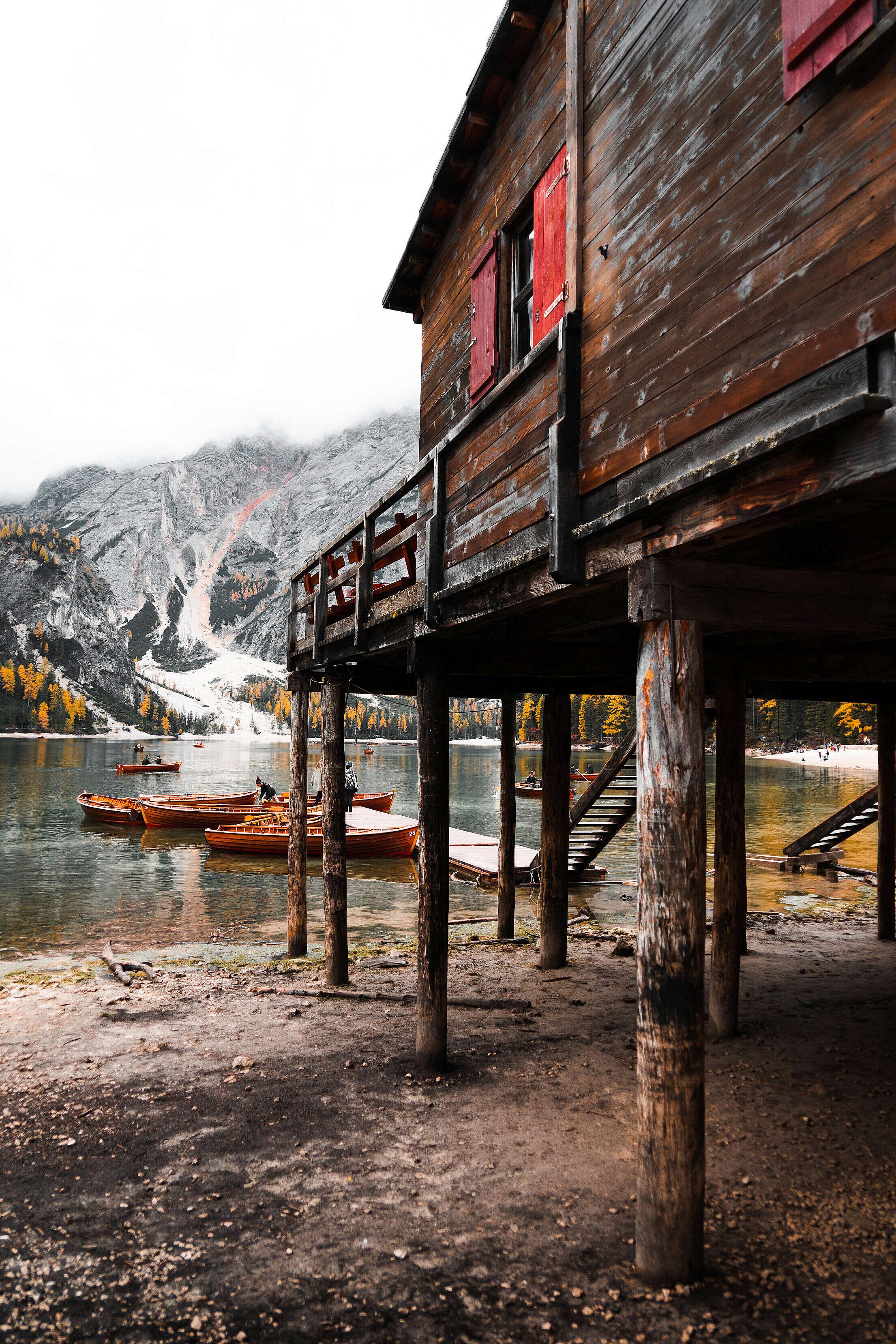 Pier Lago di Braies, Dolomites Italy Free Stock Photo